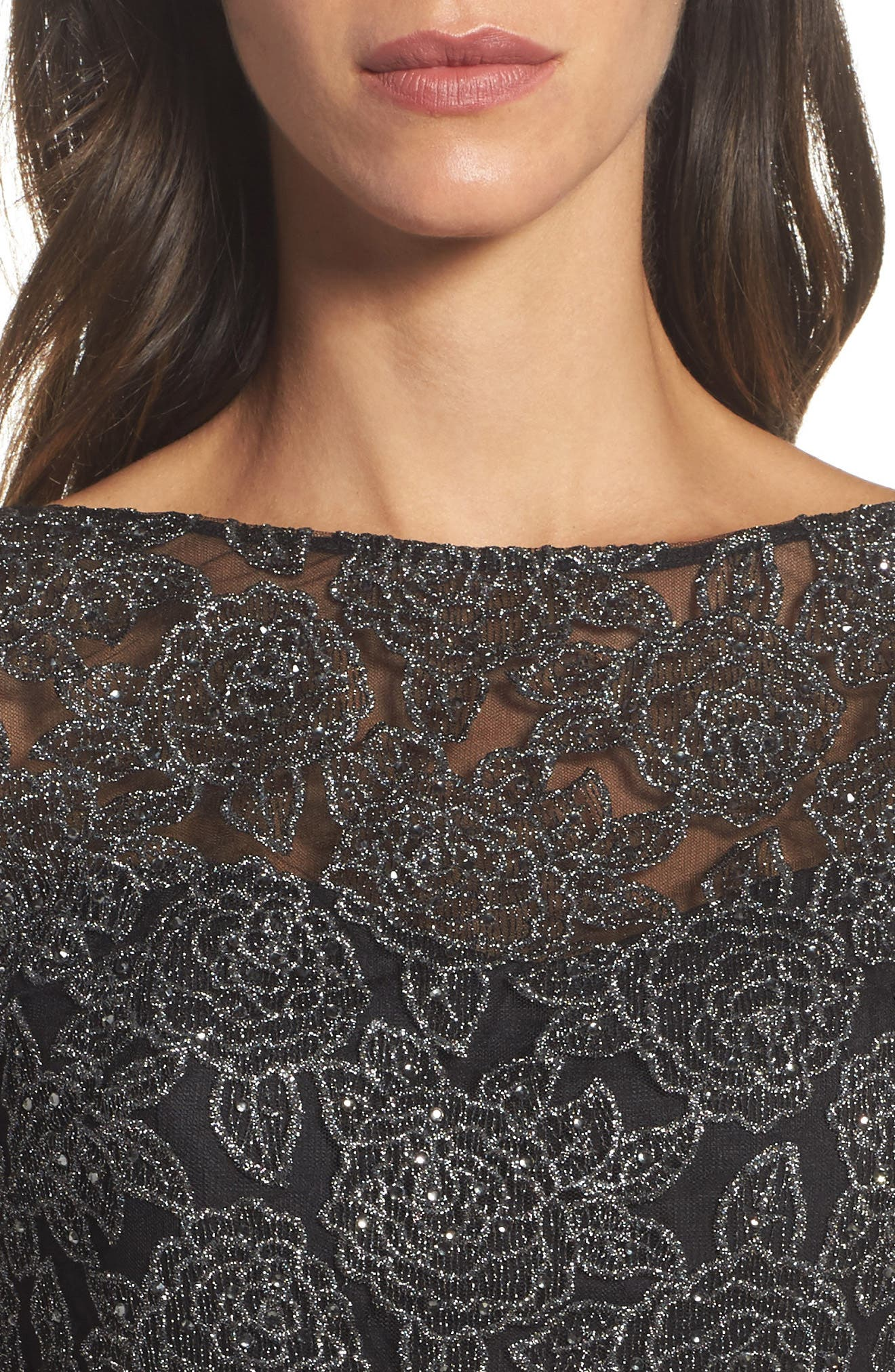 Metallic Embroidered A-Line Gown,                             Alternate thumbnail 4, color,                             BLACK