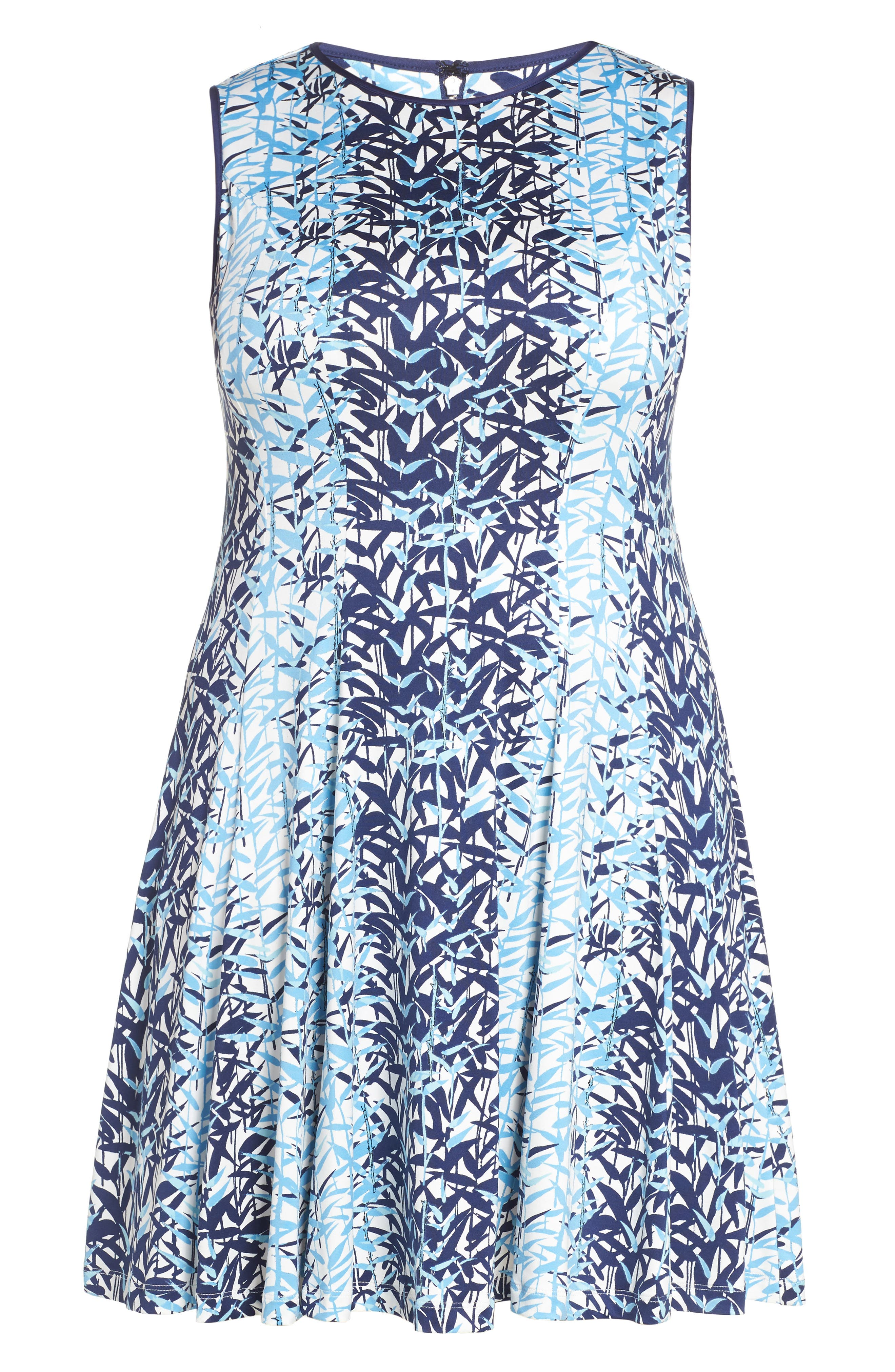 Abstract Print Jersey Fit & Flare Dress,                             Alternate thumbnail 6, color,                             410