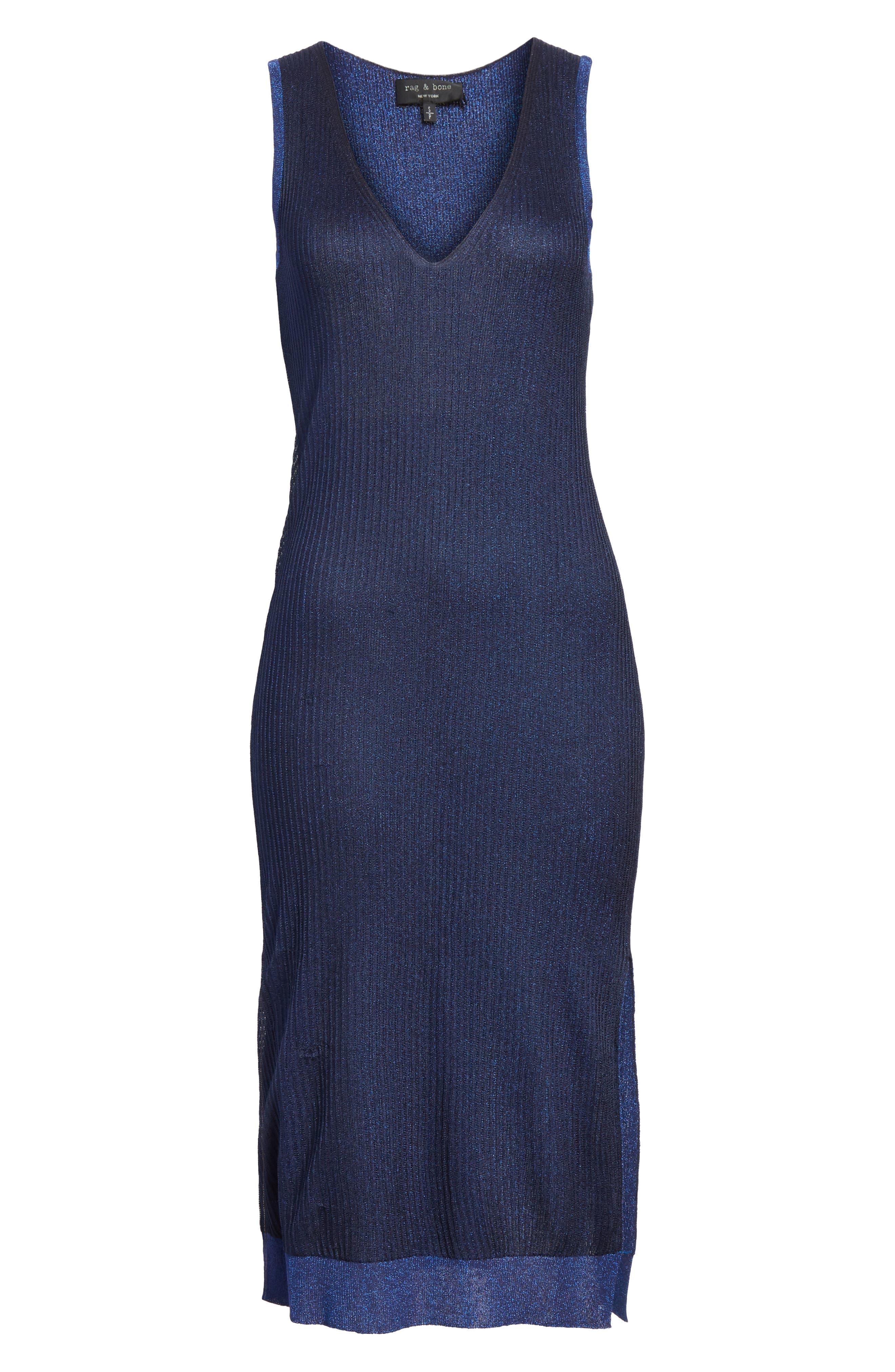 Cora Ribbed Dress,                             Alternate thumbnail 6, color,                             NAVY/ BLUE