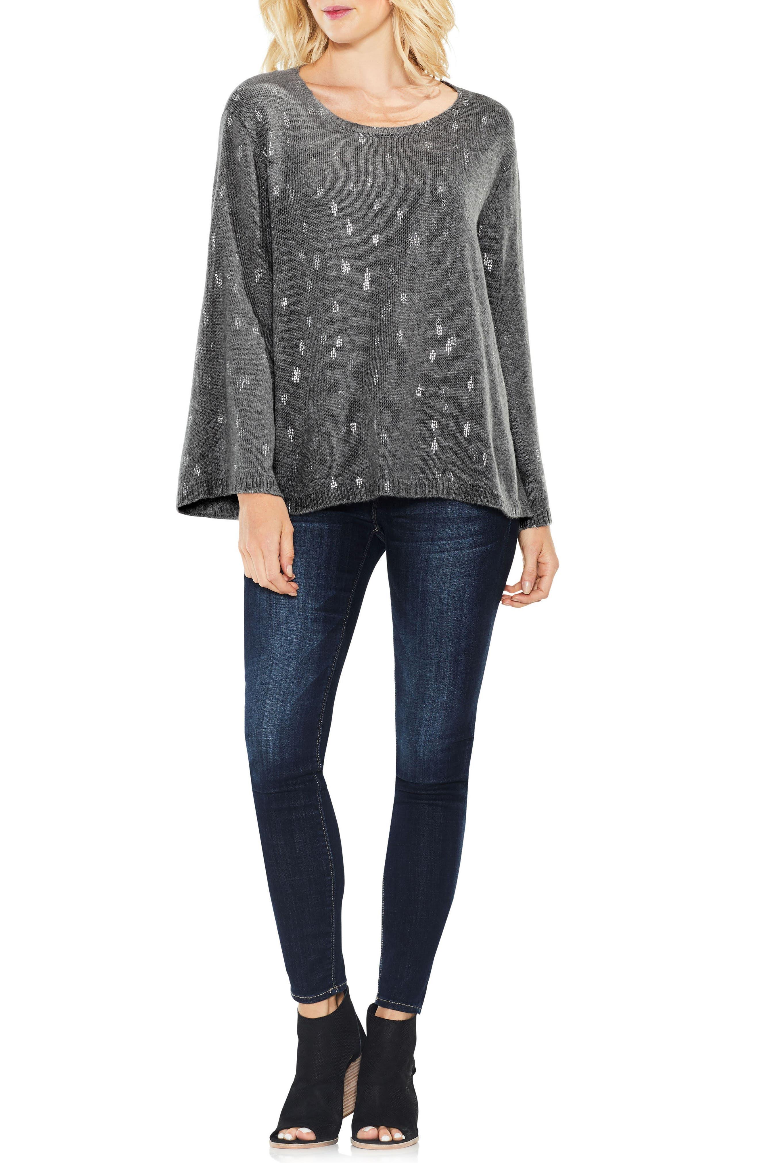 Bell Sleeve Foil Print Sweater,                             Alternate thumbnail 3, color,                             023