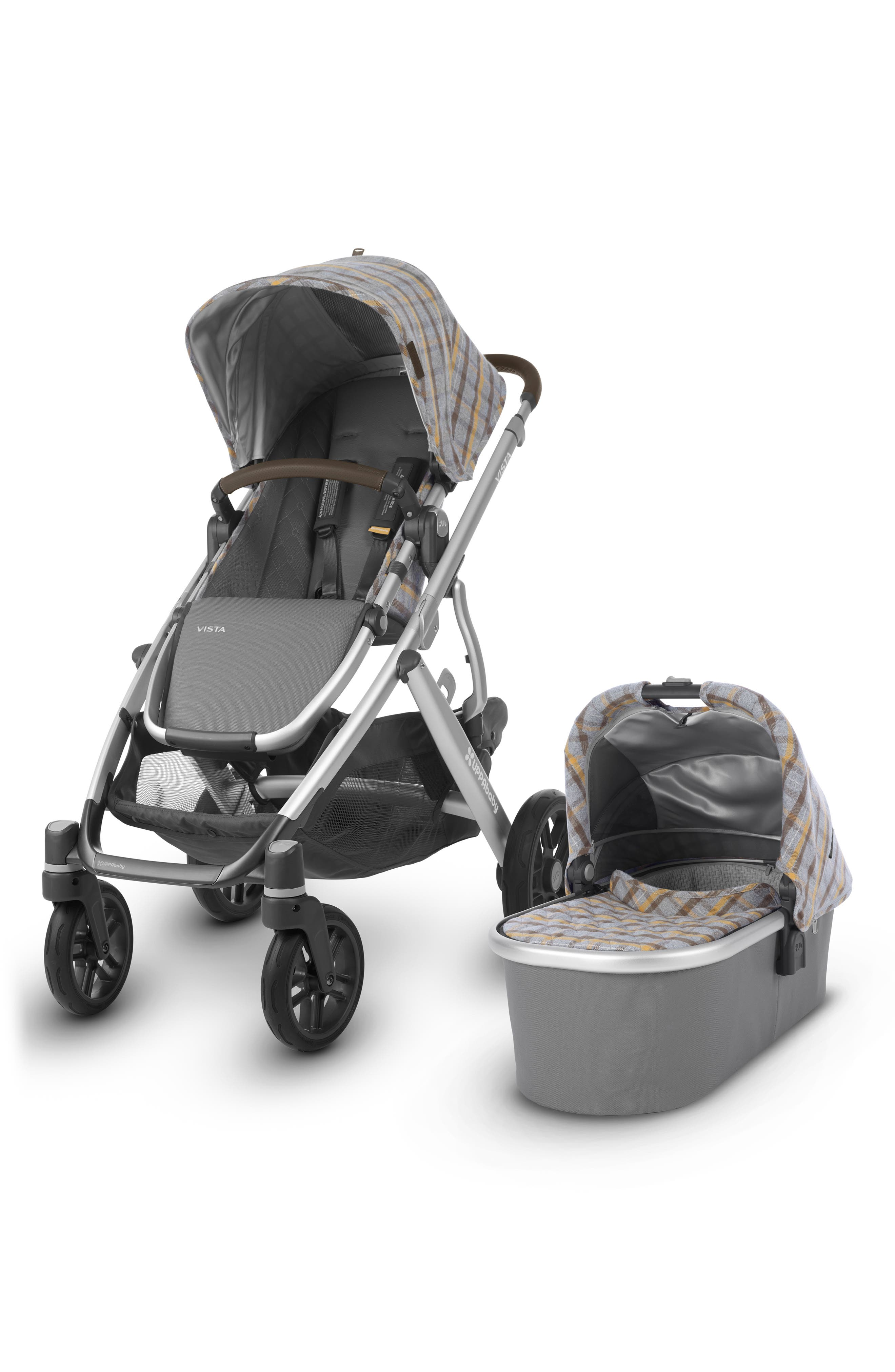 VISTA Spenser Convertible Stroller with Bassinet & Toddler Seat, Main, color, GREY/ YELLOW TARTAN