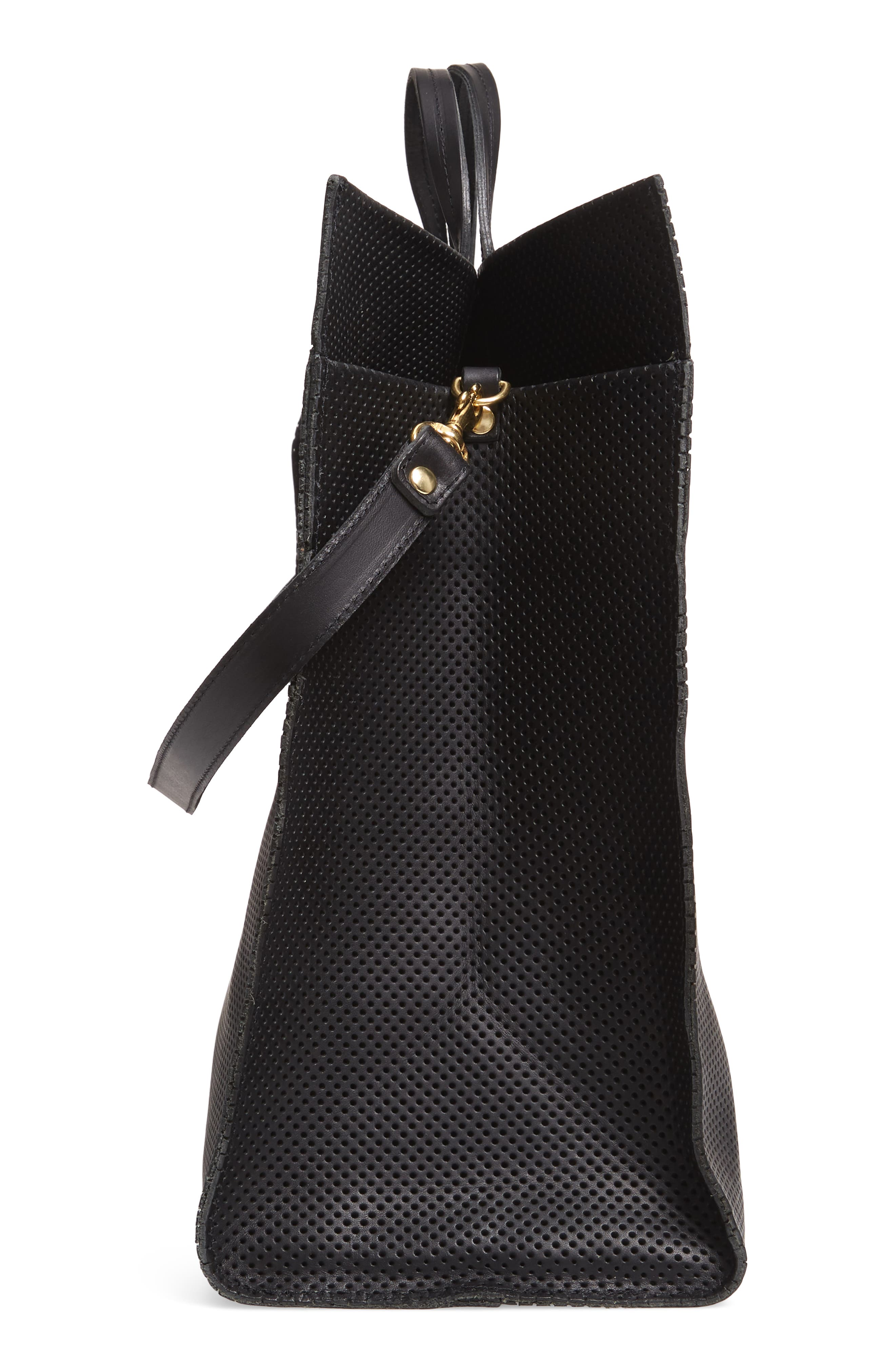 Simple Perforated Leather Tote,                             Alternate thumbnail 5, color,                             BLACK PERF