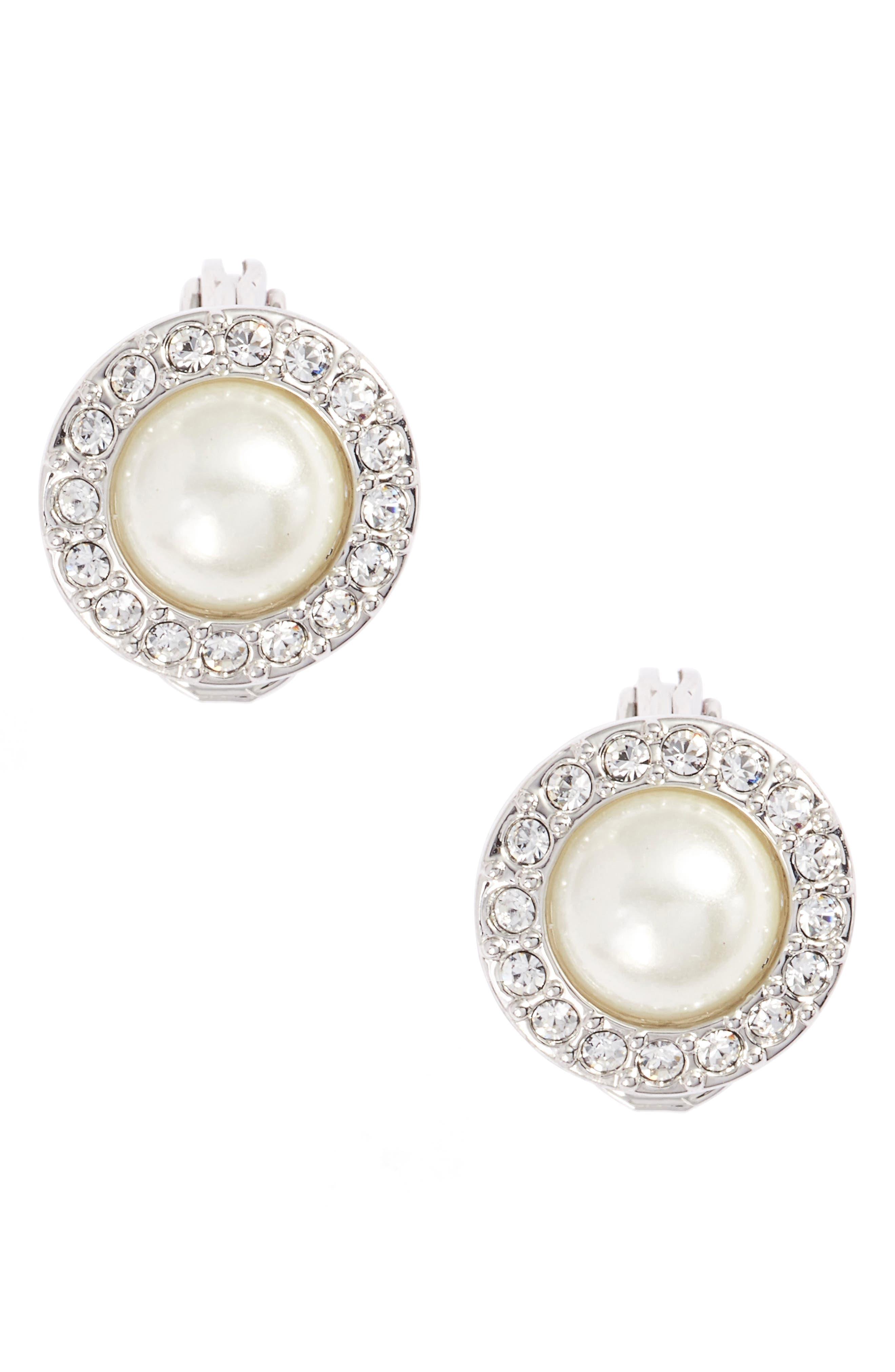Imitation Pearl Clip-On Earrings,                         Main,                         color, 040