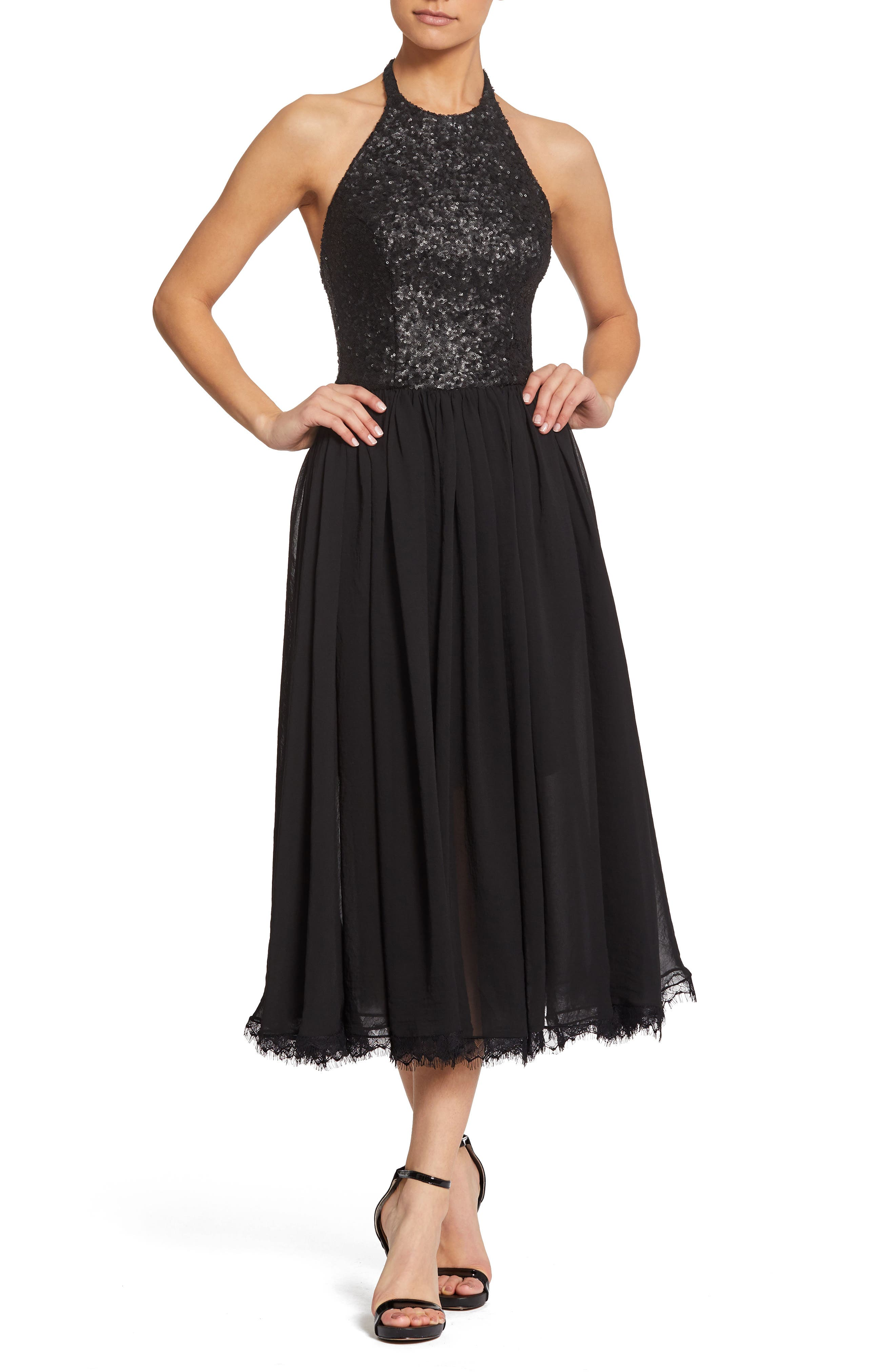 Dress The Population Tatiana Sequin & Chiffon Cocktail Dress, Black