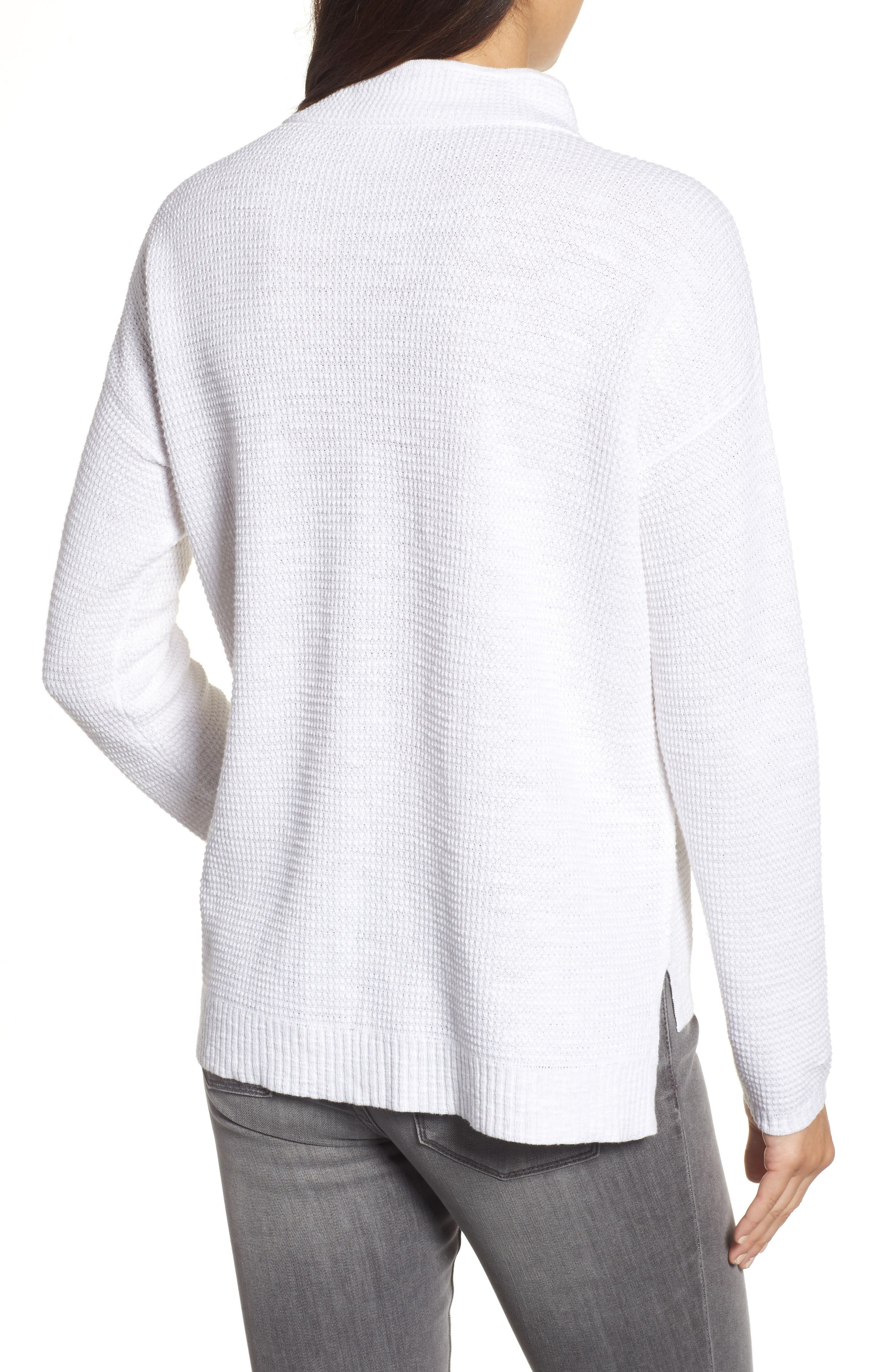 Drawstring Neck Organic Linen & Cotton Top,                             Alternate thumbnail 2, color,                             100