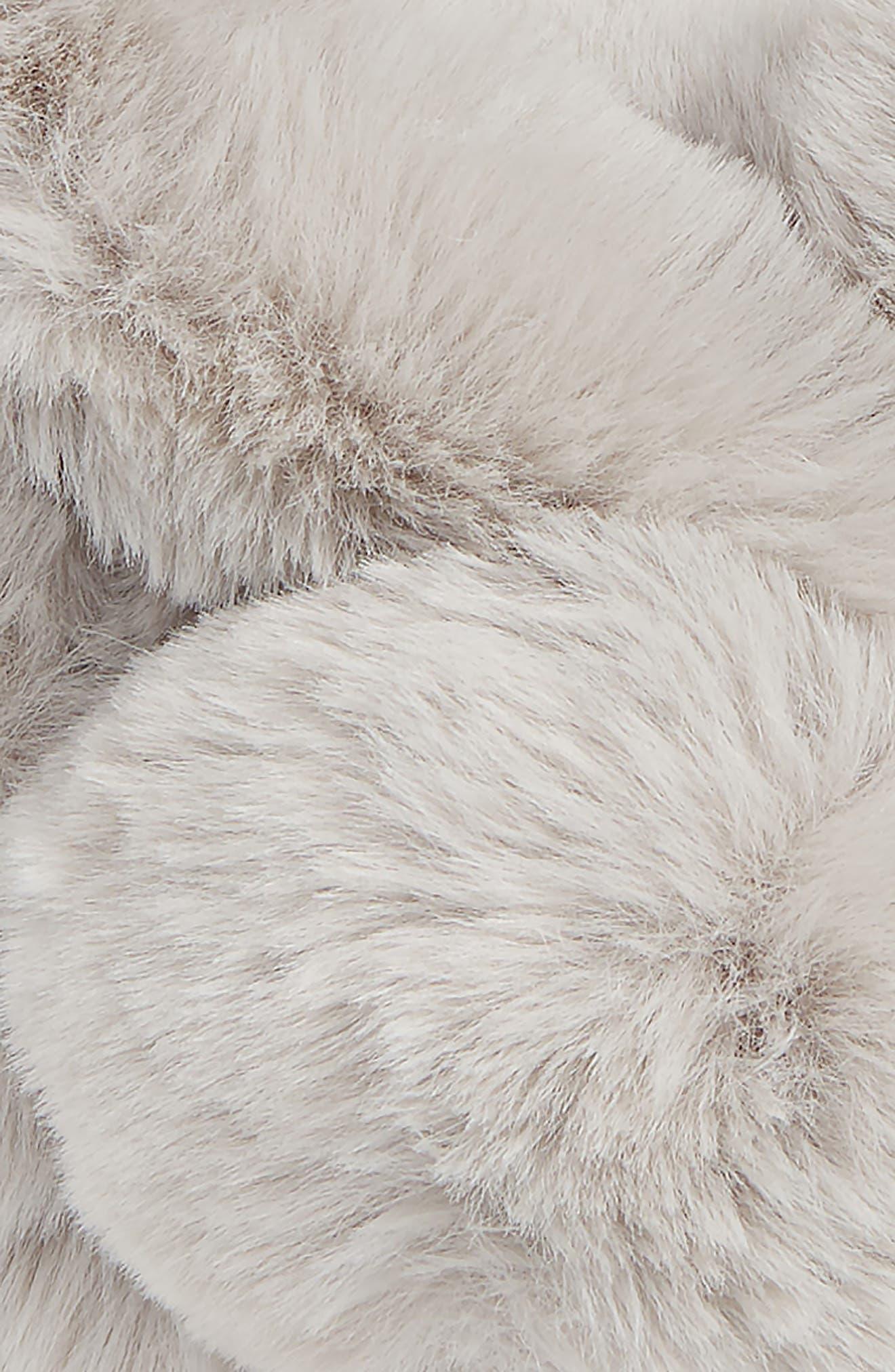 Pom Faux Fur Snood,                             Alternate thumbnail 3, color,                             GREY