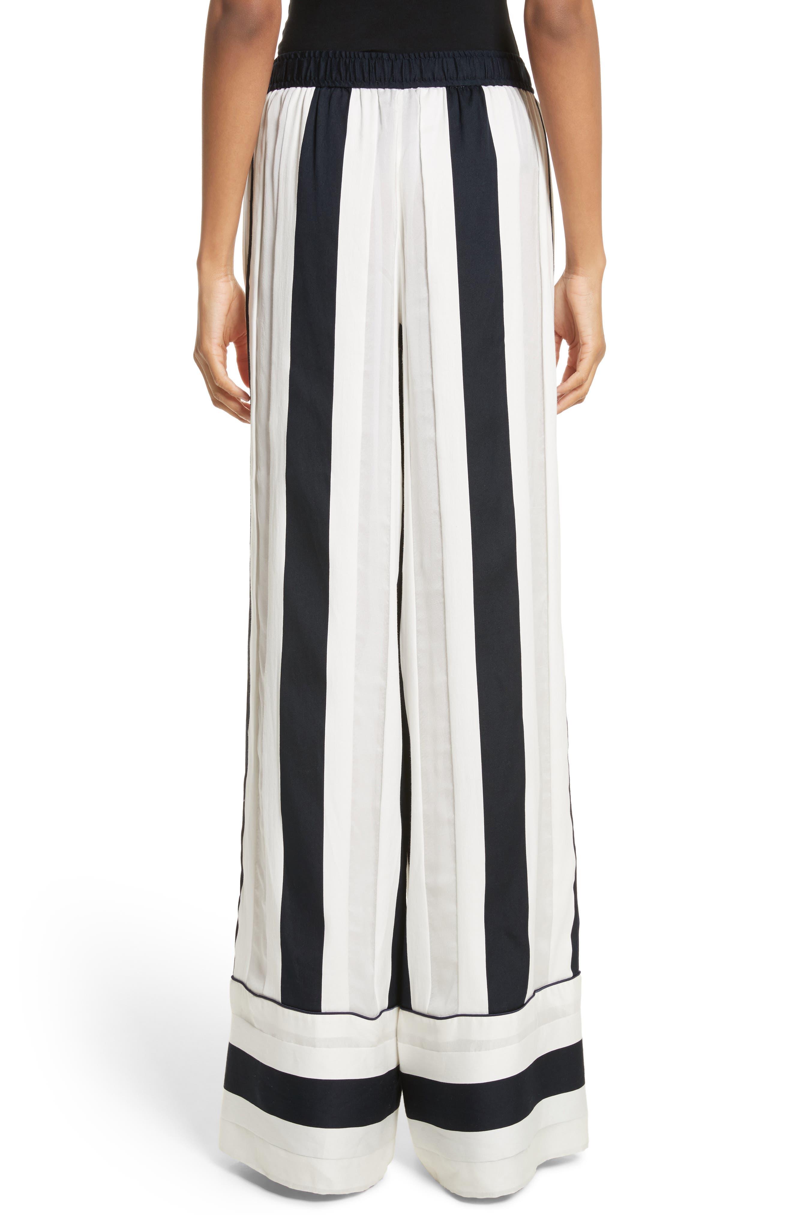Cotton & Silk Stripe Jacquard Wide Leg Pants,                             Alternate thumbnail 2, color,