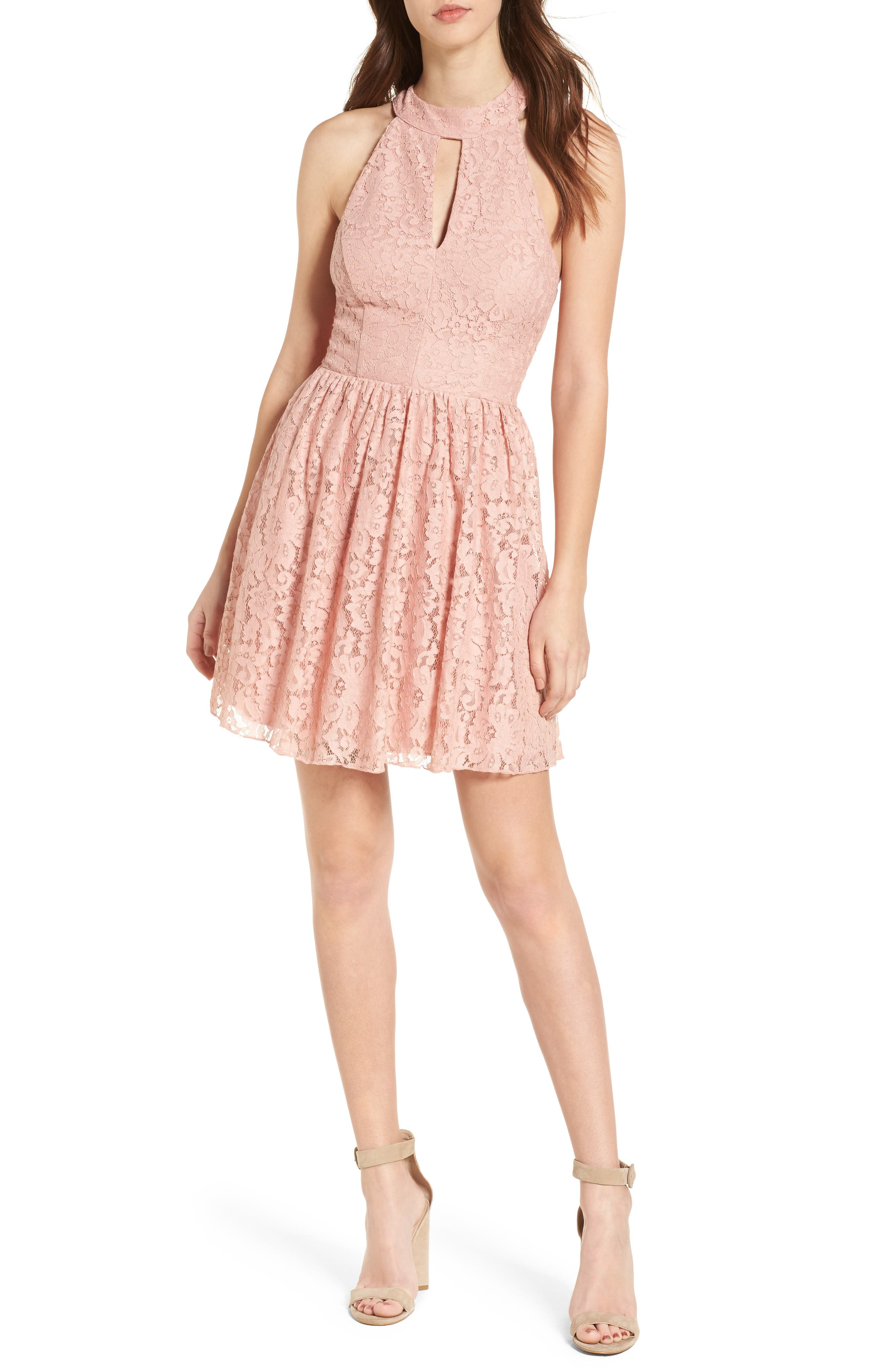 Gigi Lace Fit & Flare Dress,                             Alternate thumbnail 9, color,