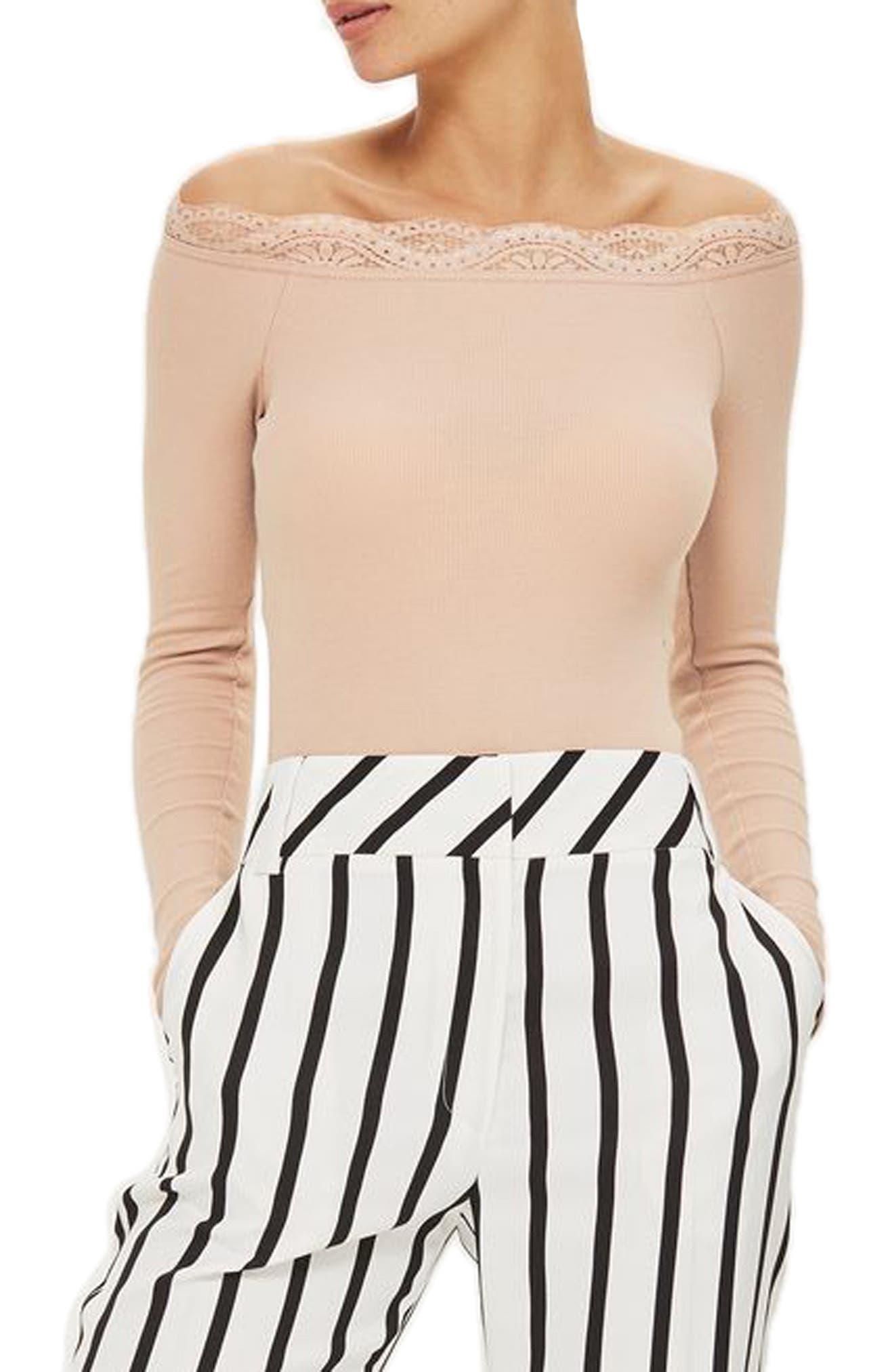 Lace Trim Off the Shoulder Bodysuit,                             Main thumbnail 3, color,