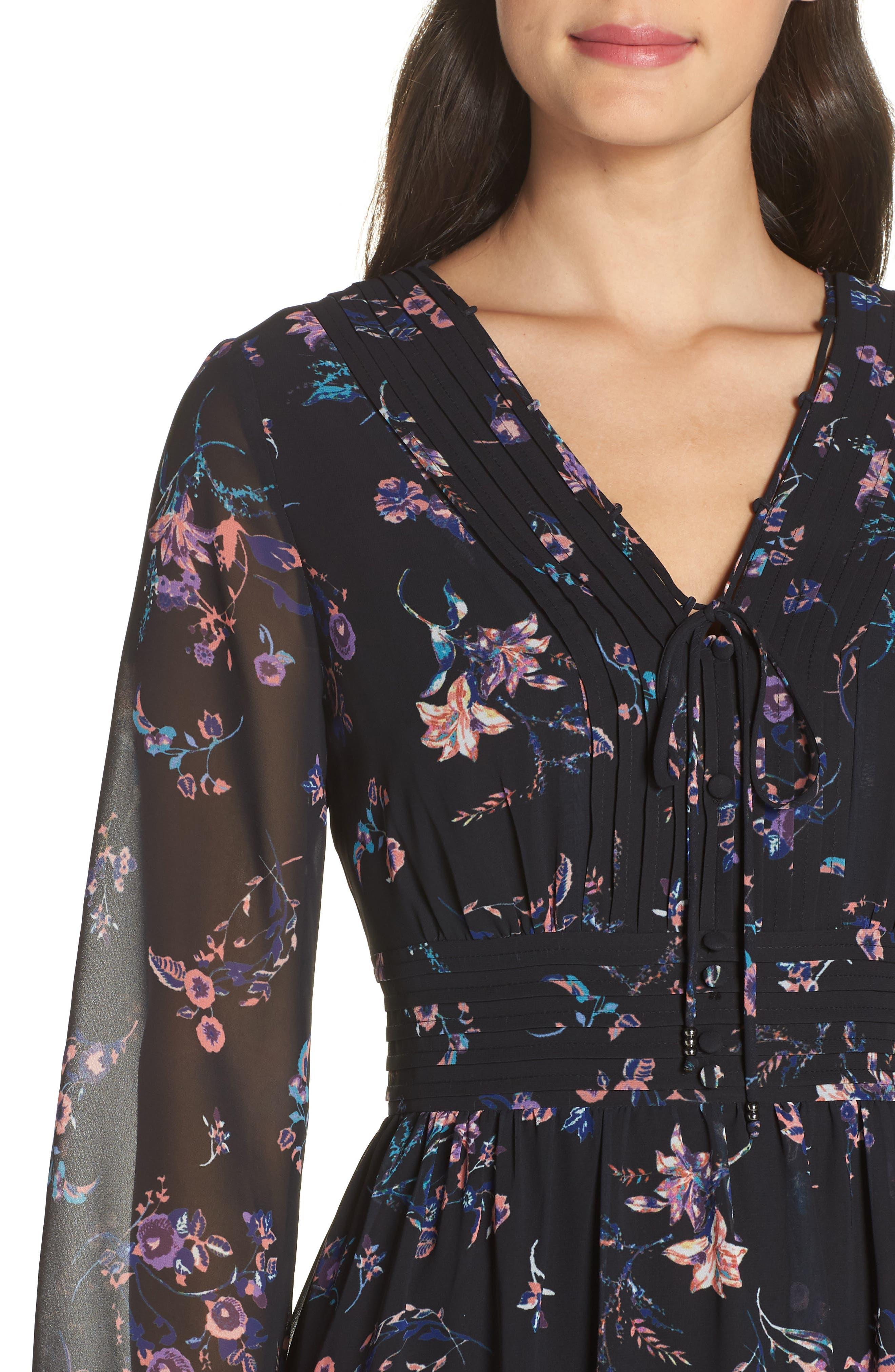 SAM EDELMAN,                             Floral Print Dress,                             Alternate thumbnail 5, color,                             004
