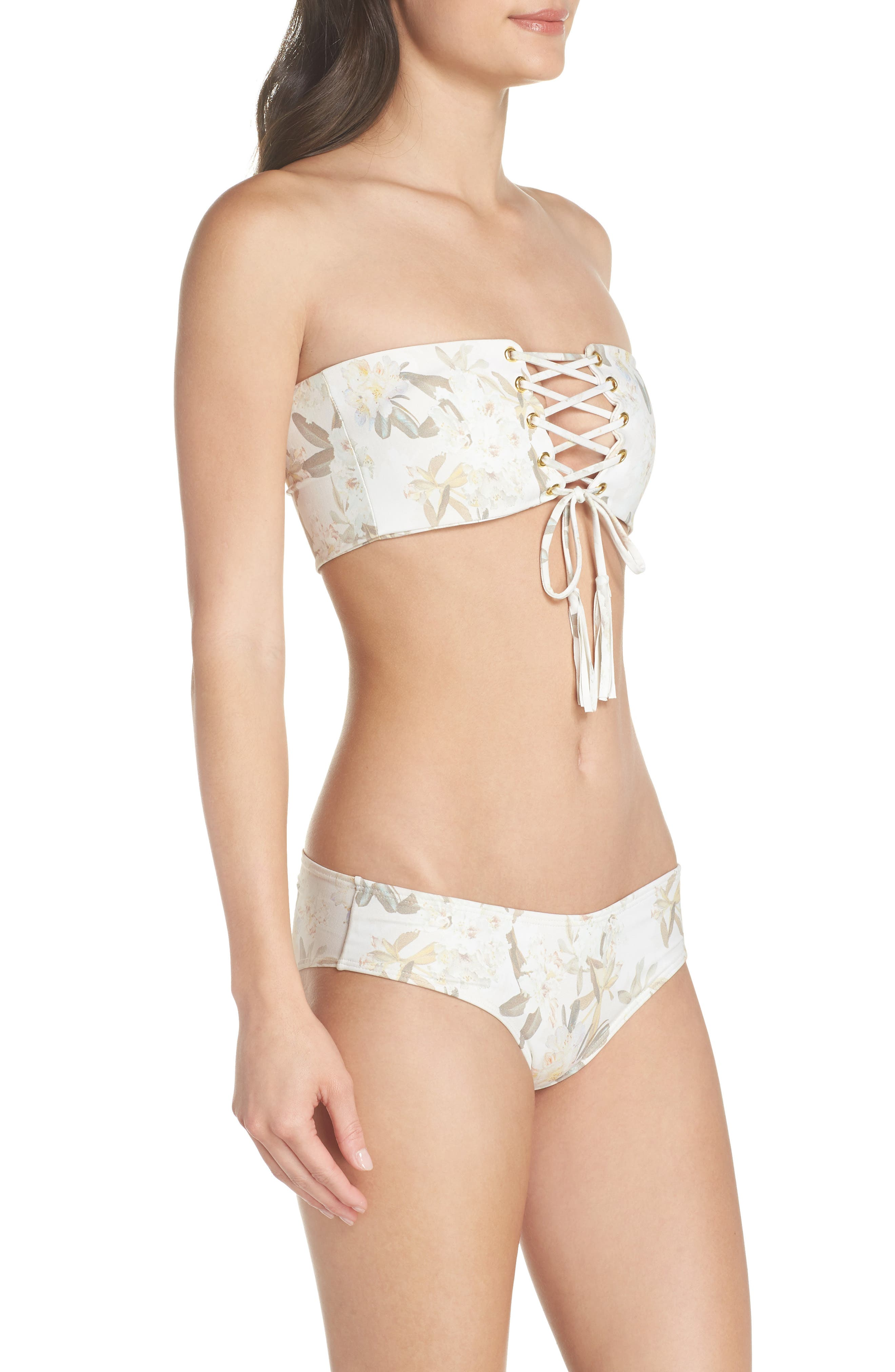 Floral Corset Bikini Top,                             Alternate thumbnail 9, color,                             ETE FLORAL WHITE