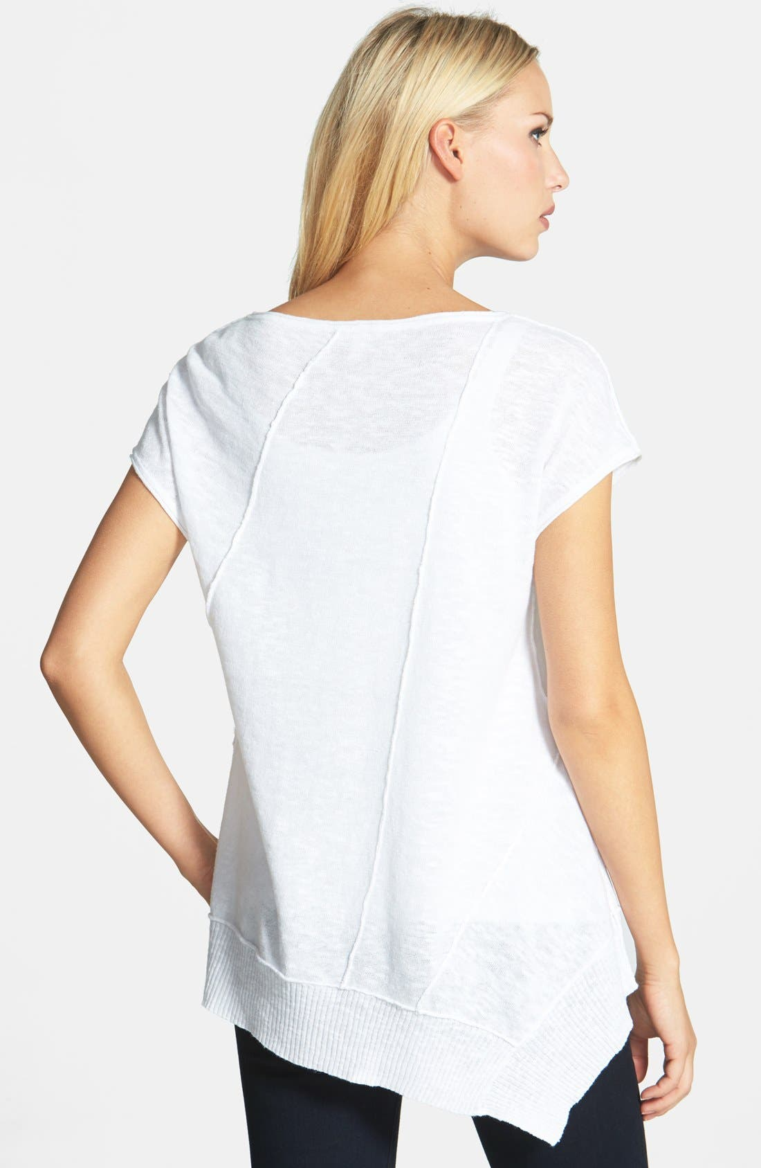 Cap Sleeve Organic Linen & Cotton Scoop Neck Top,                             Alternate thumbnail 28, color,