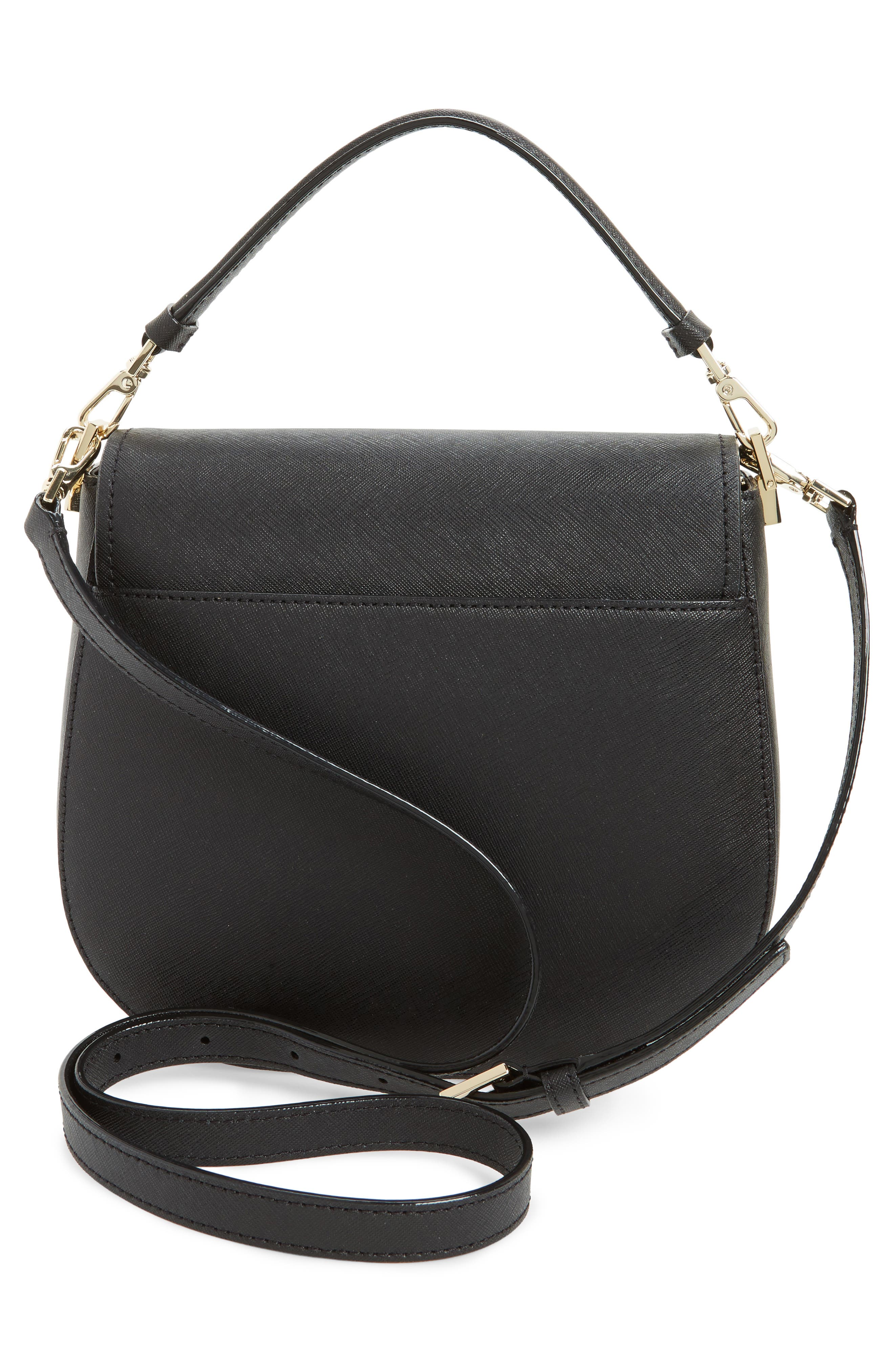 make it mine - byrdie leather saddle bag,                             Alternate thumbnail 3, color,                             001