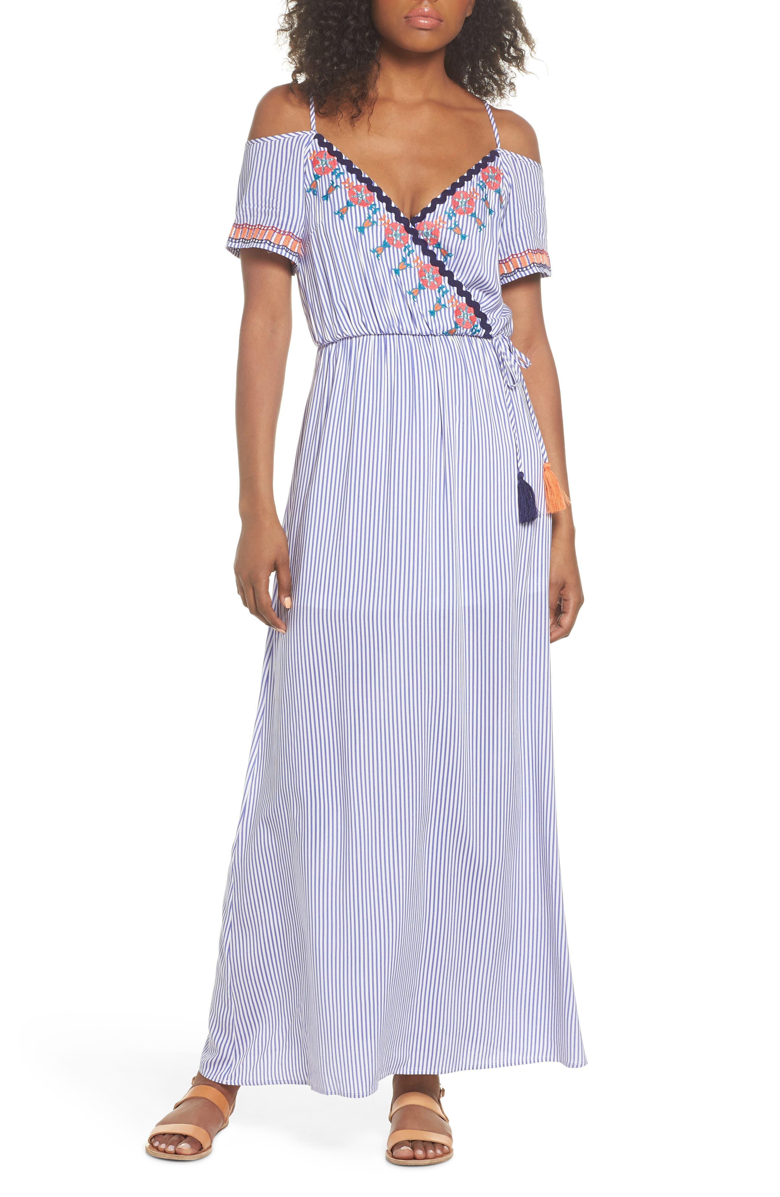 Stripe Cold Shoulder Maxi Dress,                             Main thumbnail 1, color,                             400