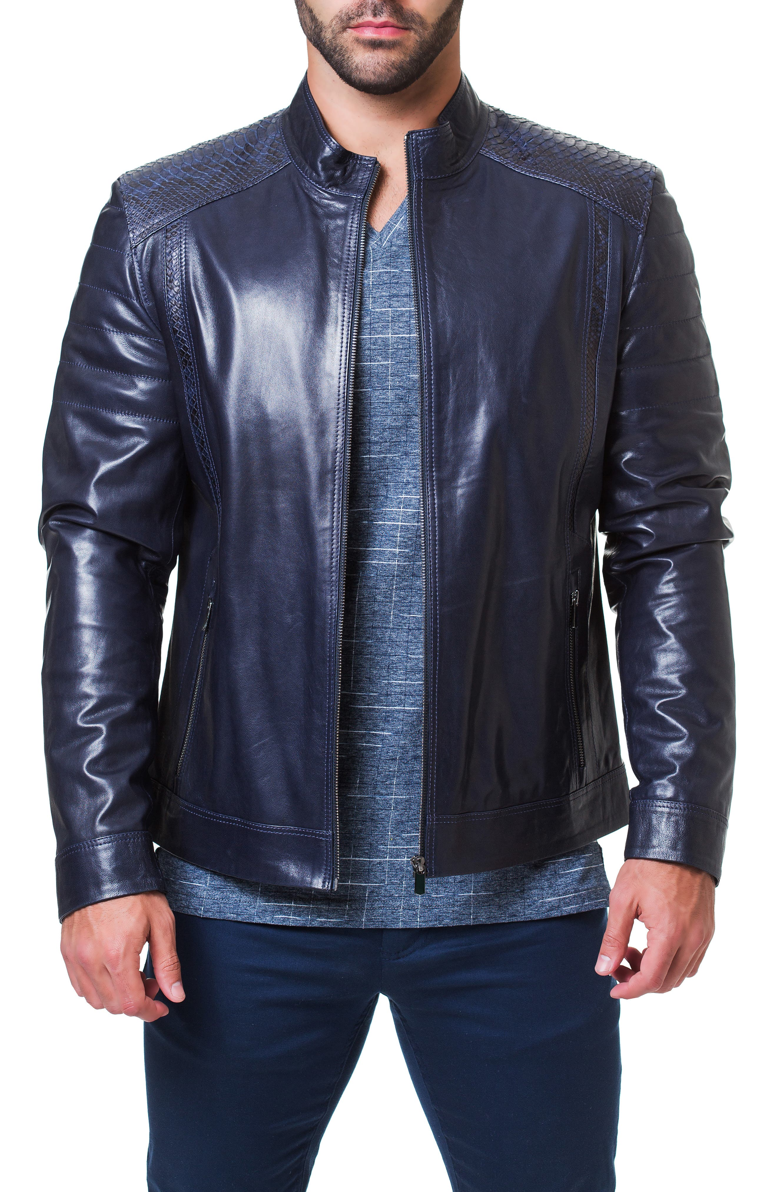 Mamba Shaped Fit Leather Jacket,                         Main,                         color, BLUE