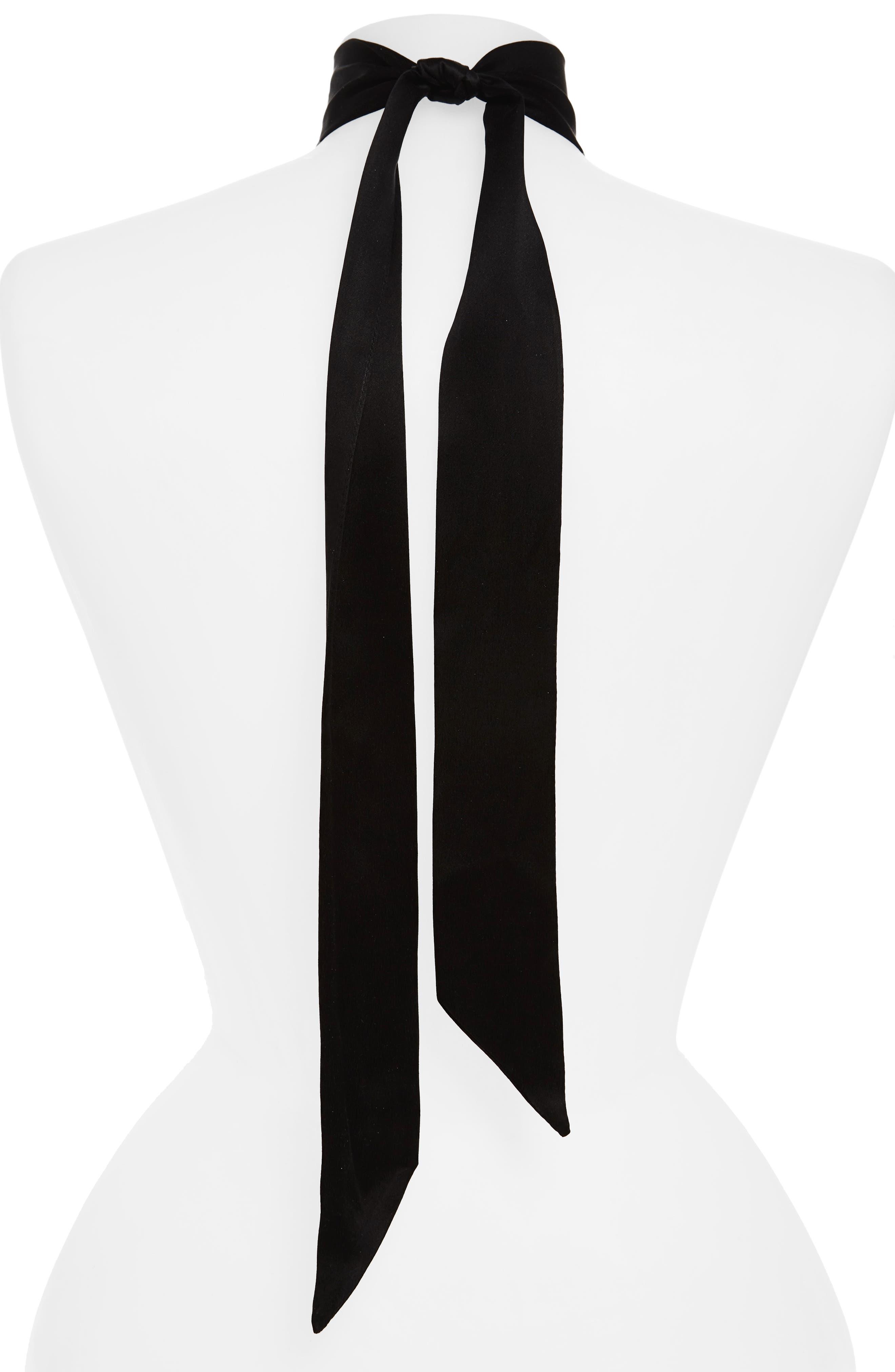 Good Vibes Embroidered Silk Ribbon Choker,                             Alternate thumbnail 2, color,                             001