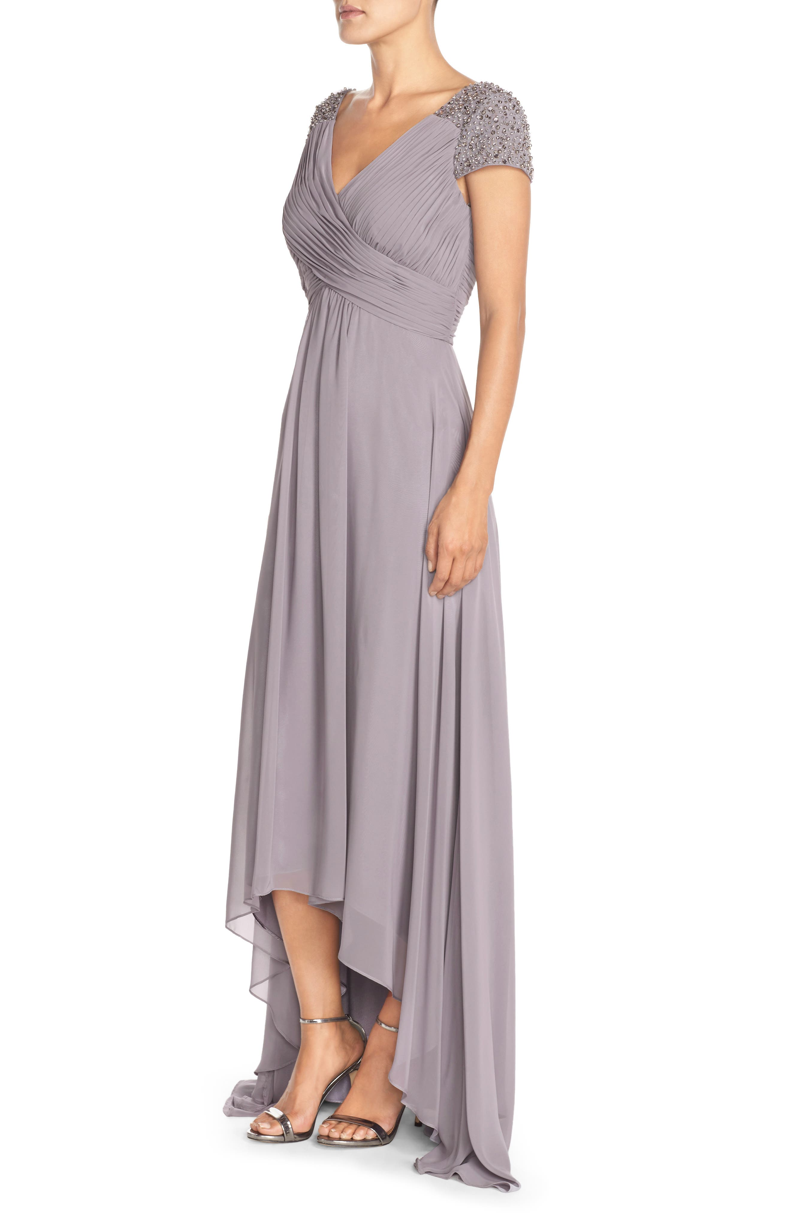Embellished Pleated Chiffon Gown,                             Alternate thumbnail 3, color,                             030
