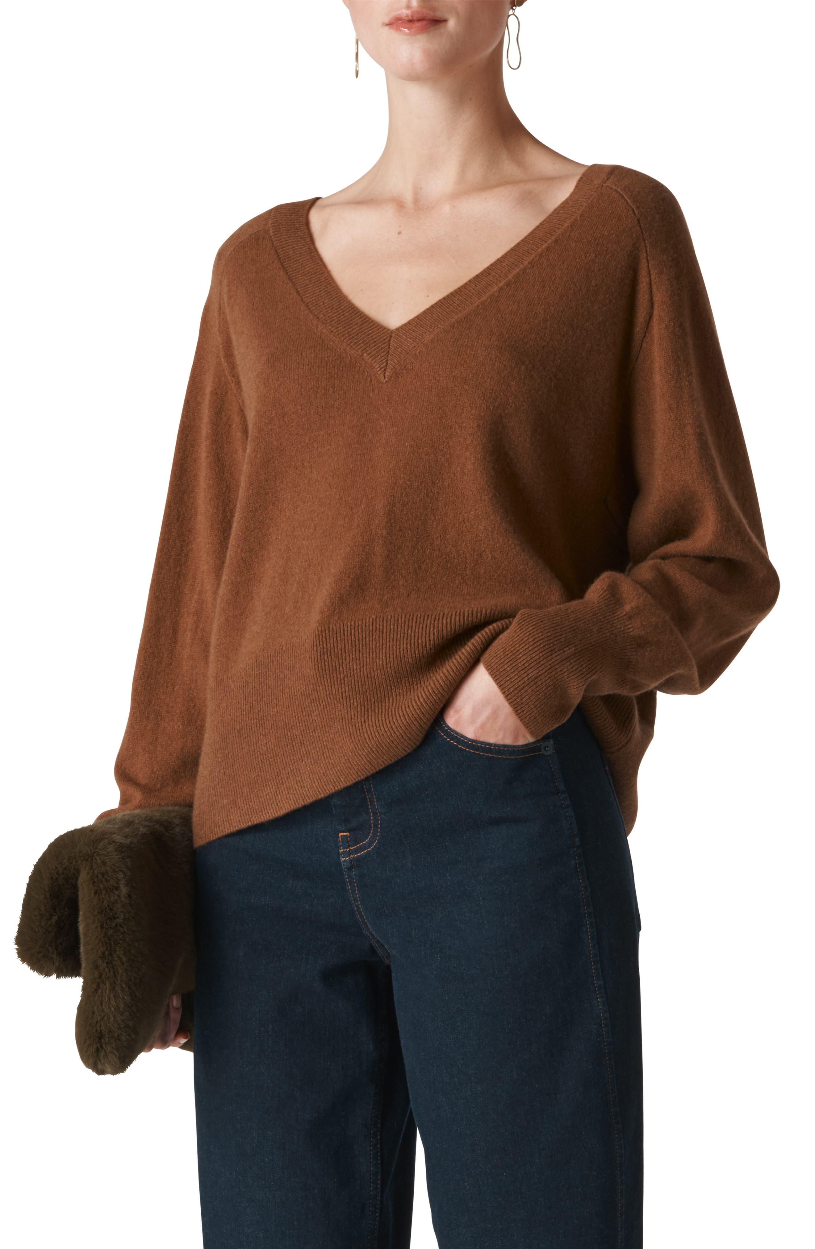 Whistles Oversize Cashmere & Wool Sweater, Beige