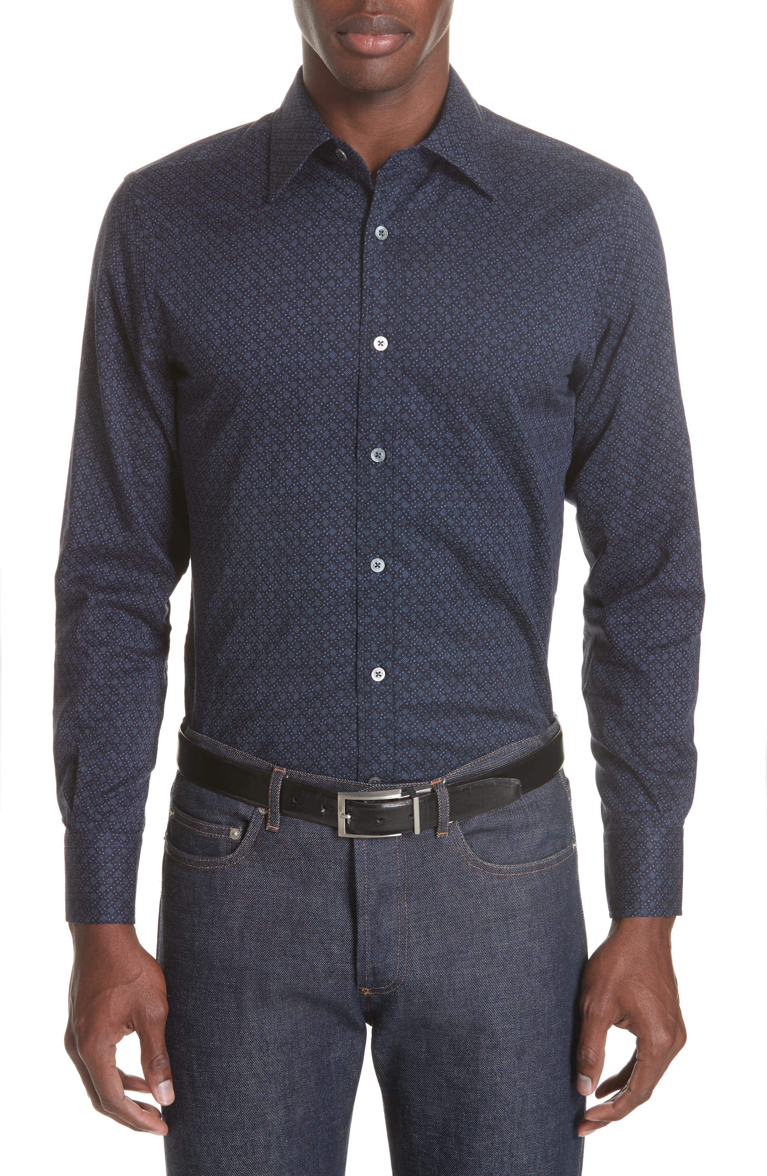 Regular Fit Easy Care Geometric Sport Shirt,                         Main,                         color, NAVY
