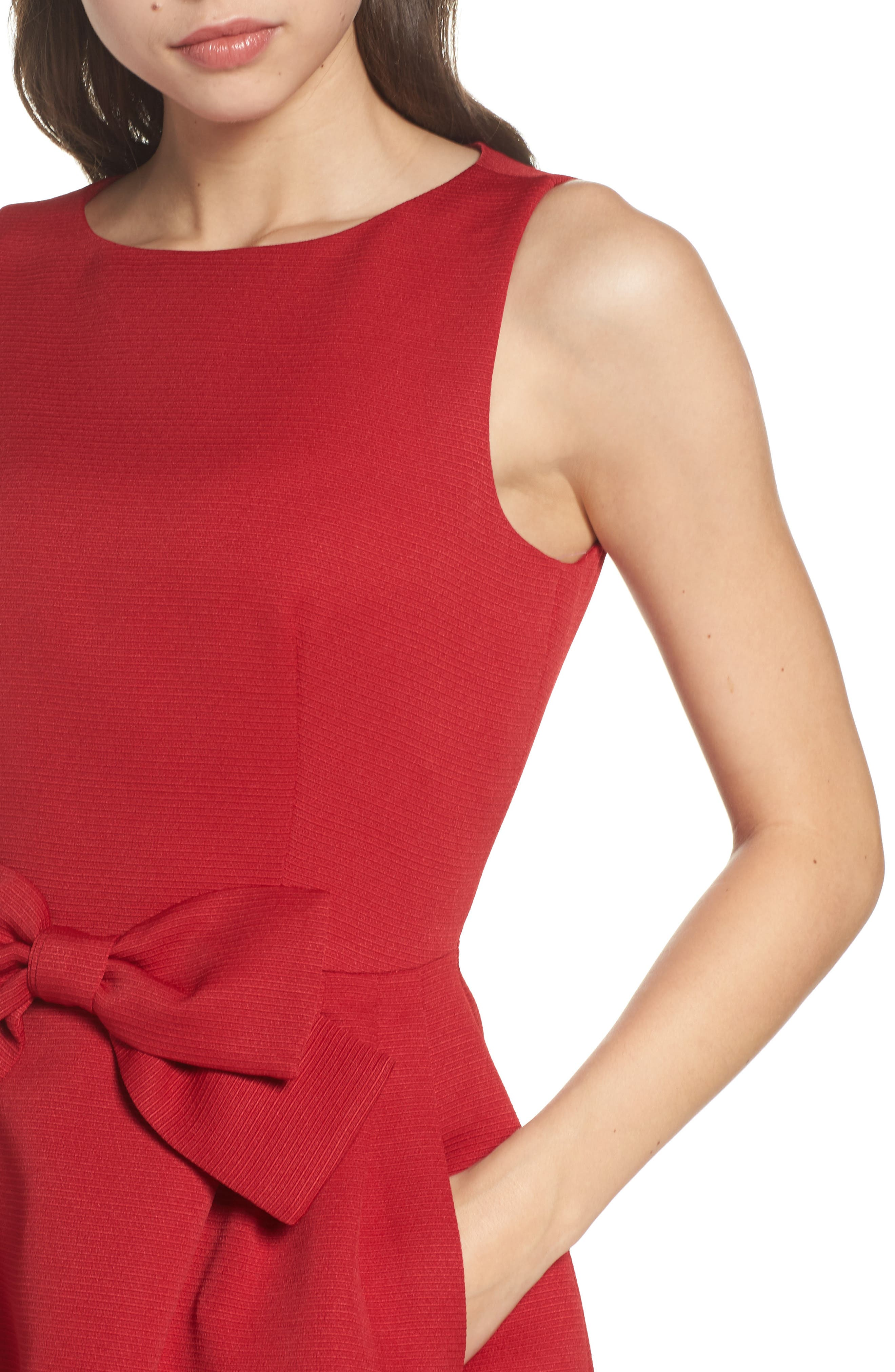 Bow Front A-Line Dress,                             Alternate thumbnail 6, color,