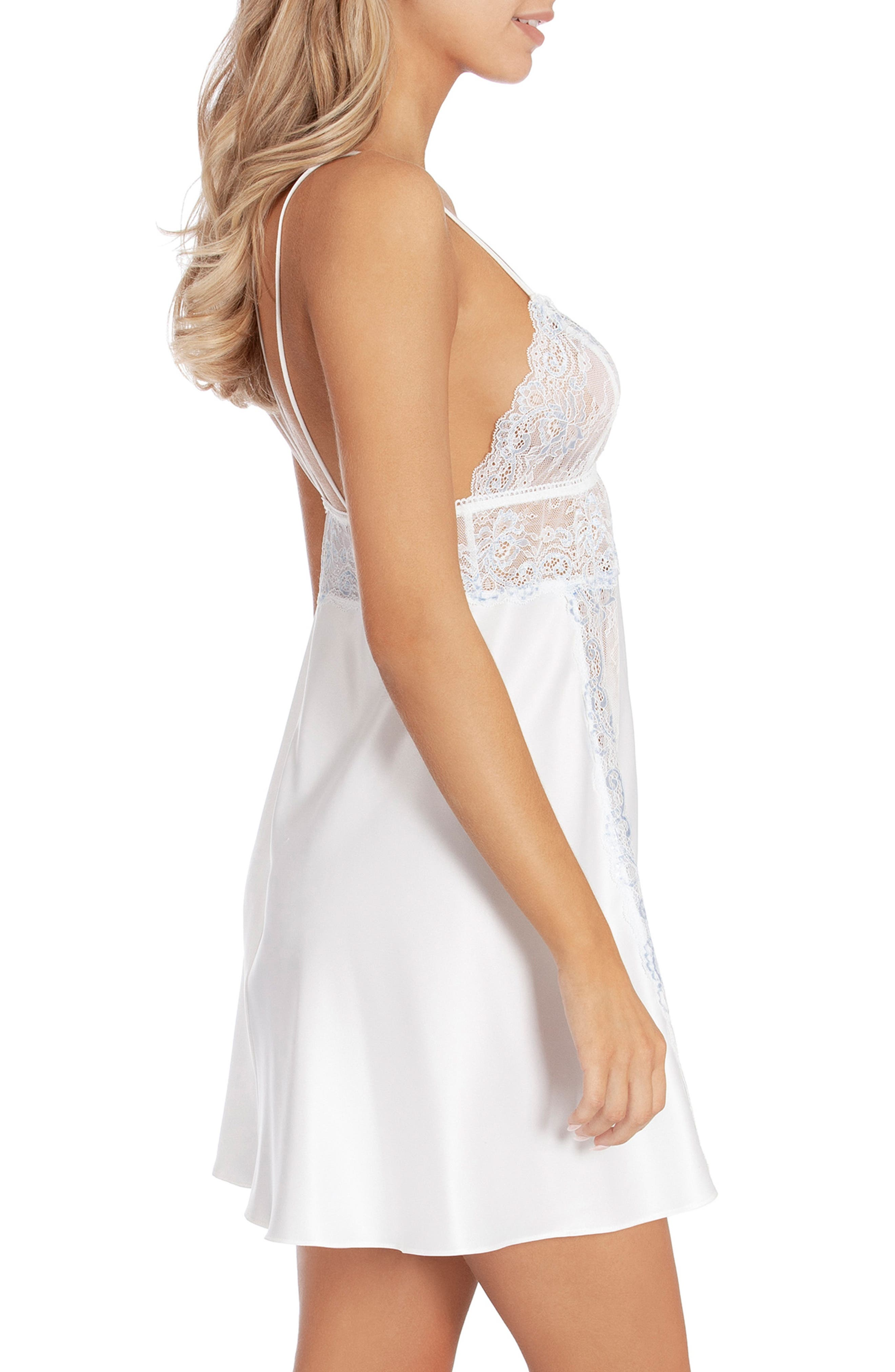 IN BLOOM BY JONQUIL,                             Lace & Satin Chemise,                             Alternate thumbnail 3, color,                             OFF-WHITE