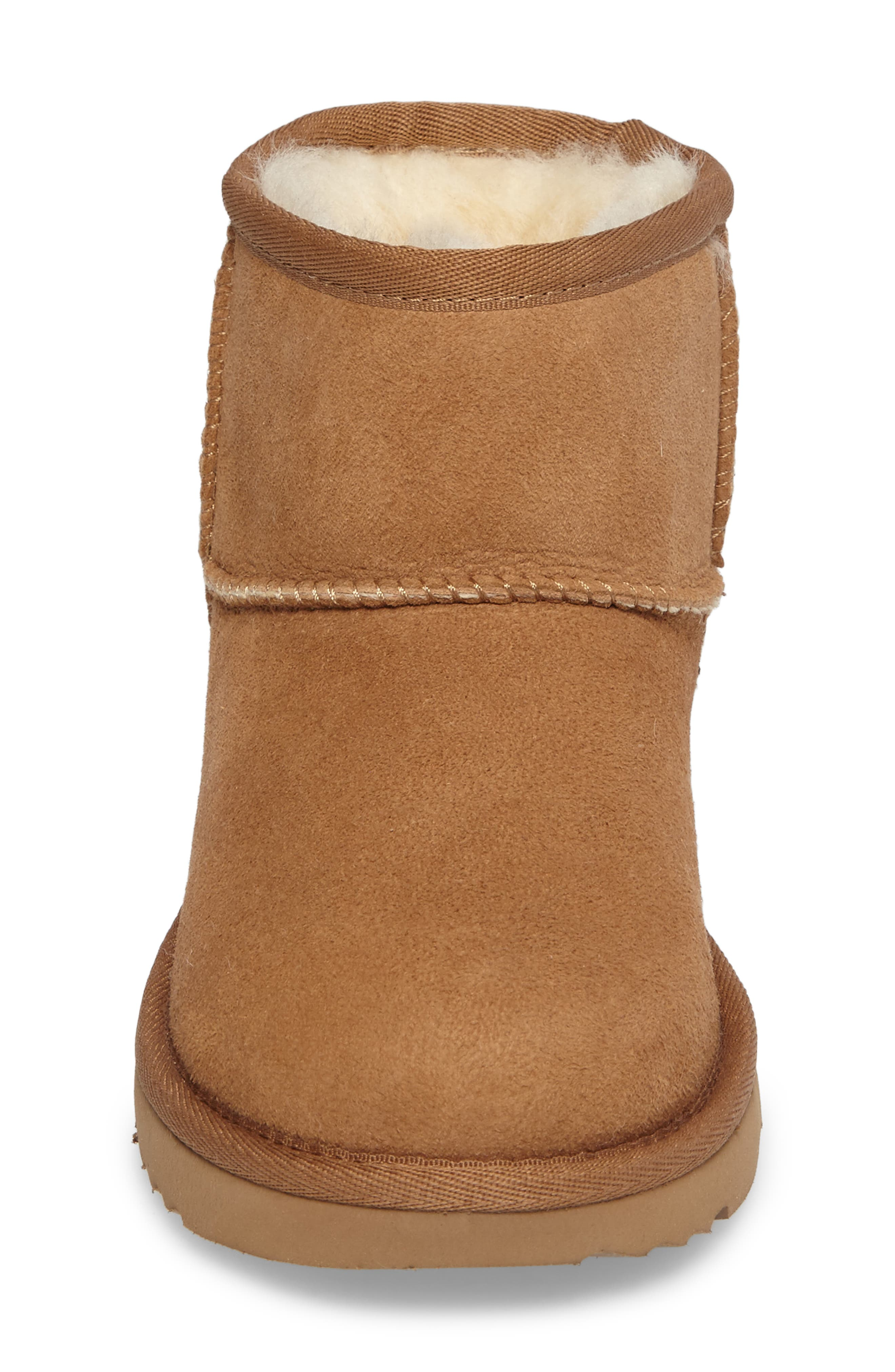 Classic Mini II Water-Resistant Genuine Shearling Boot,                             Alternate thumbnail 4, color,                             CHESTNUT