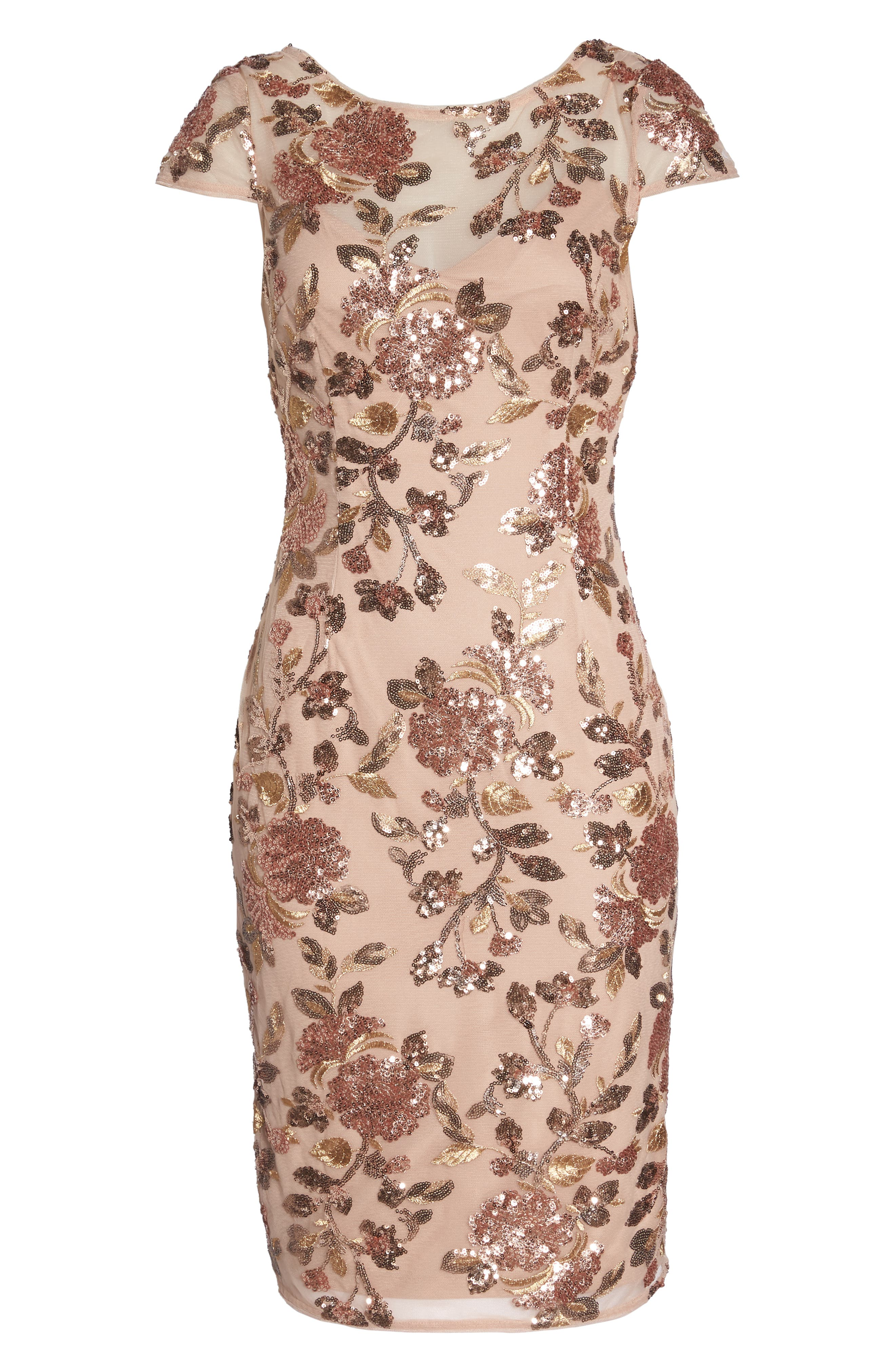 Metallic Floral Sequin Cocktail Dress,                             Alternate thumbnail 6, color,                             220