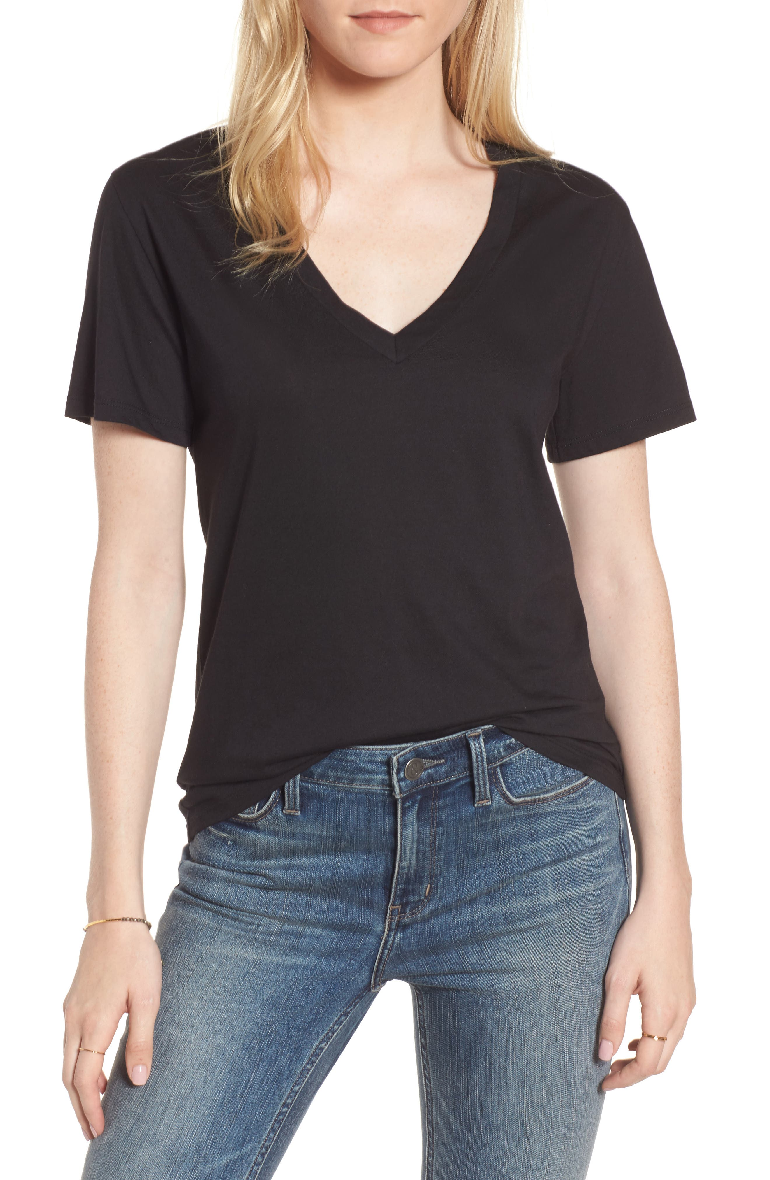 Perfect V-Neck Tee,                         Main,                         color, 001