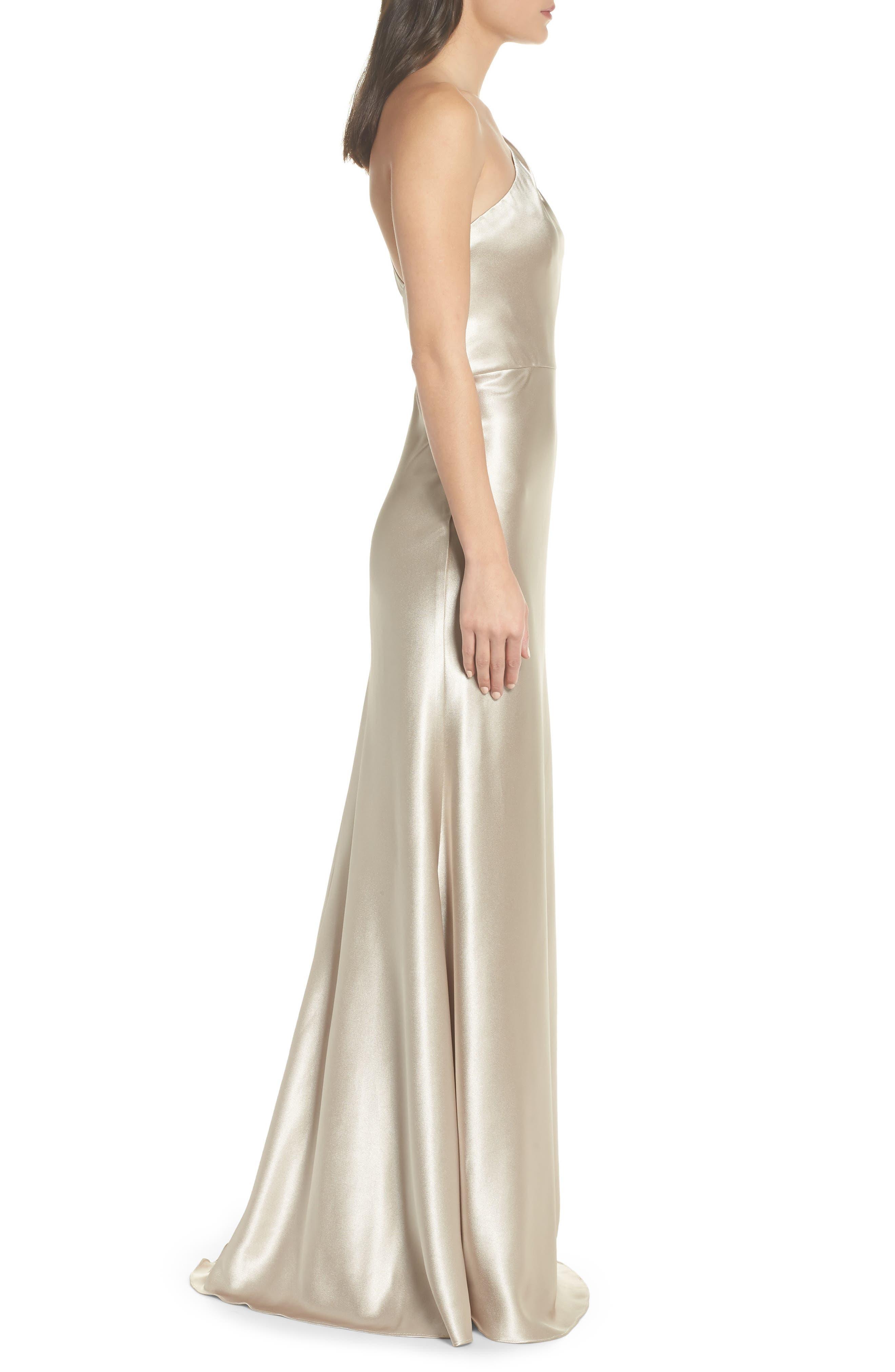 Lena One-Shoulder Crepe Back Satin Gown,                             Alternate thumbnail 3, color,                             253