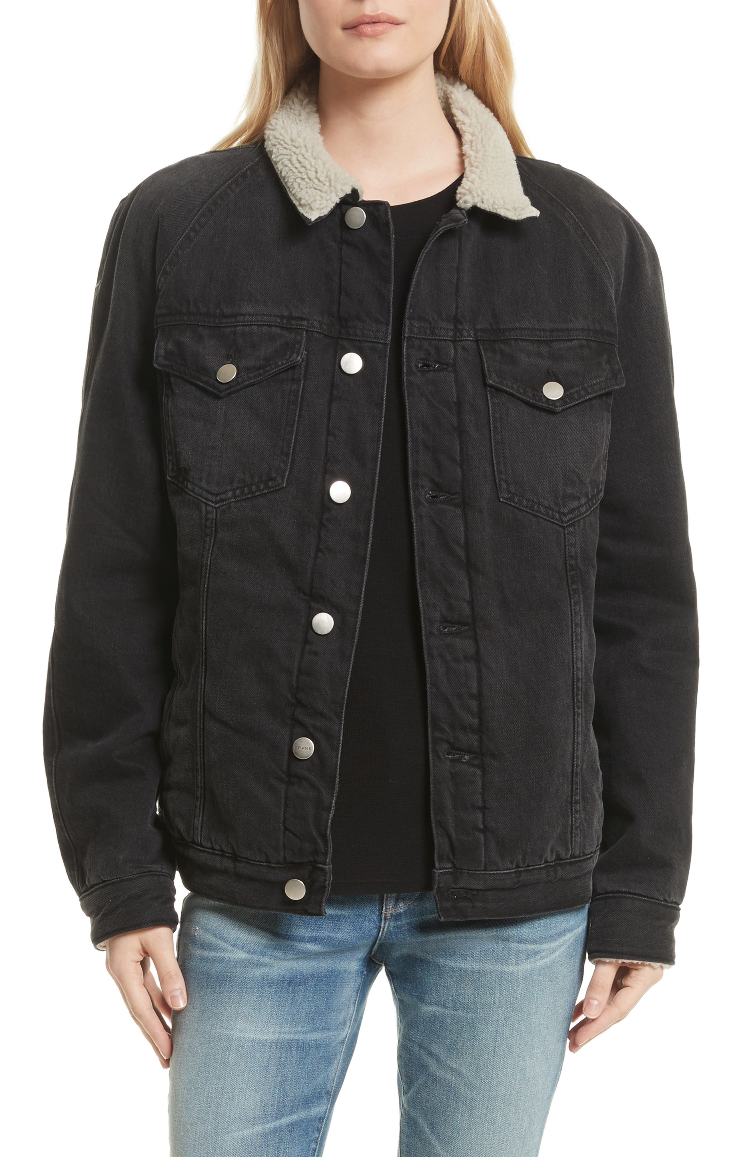 Le Sherpa Denim Jacket,                         Main,                         color, 001
