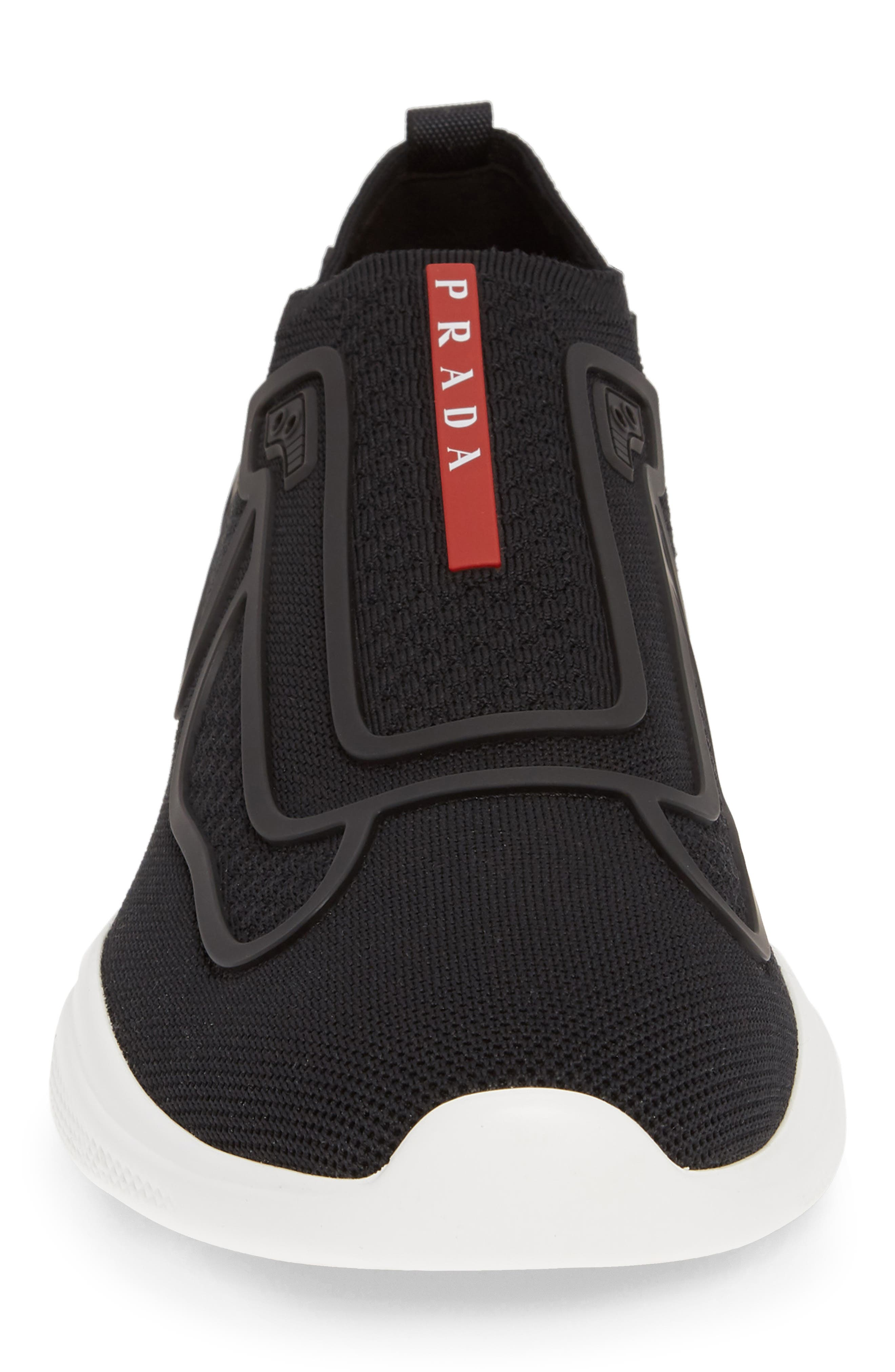 PRADA,                             Laceless Logo Sneaker,                             Alternate thumbnail 4, color,                             NERO