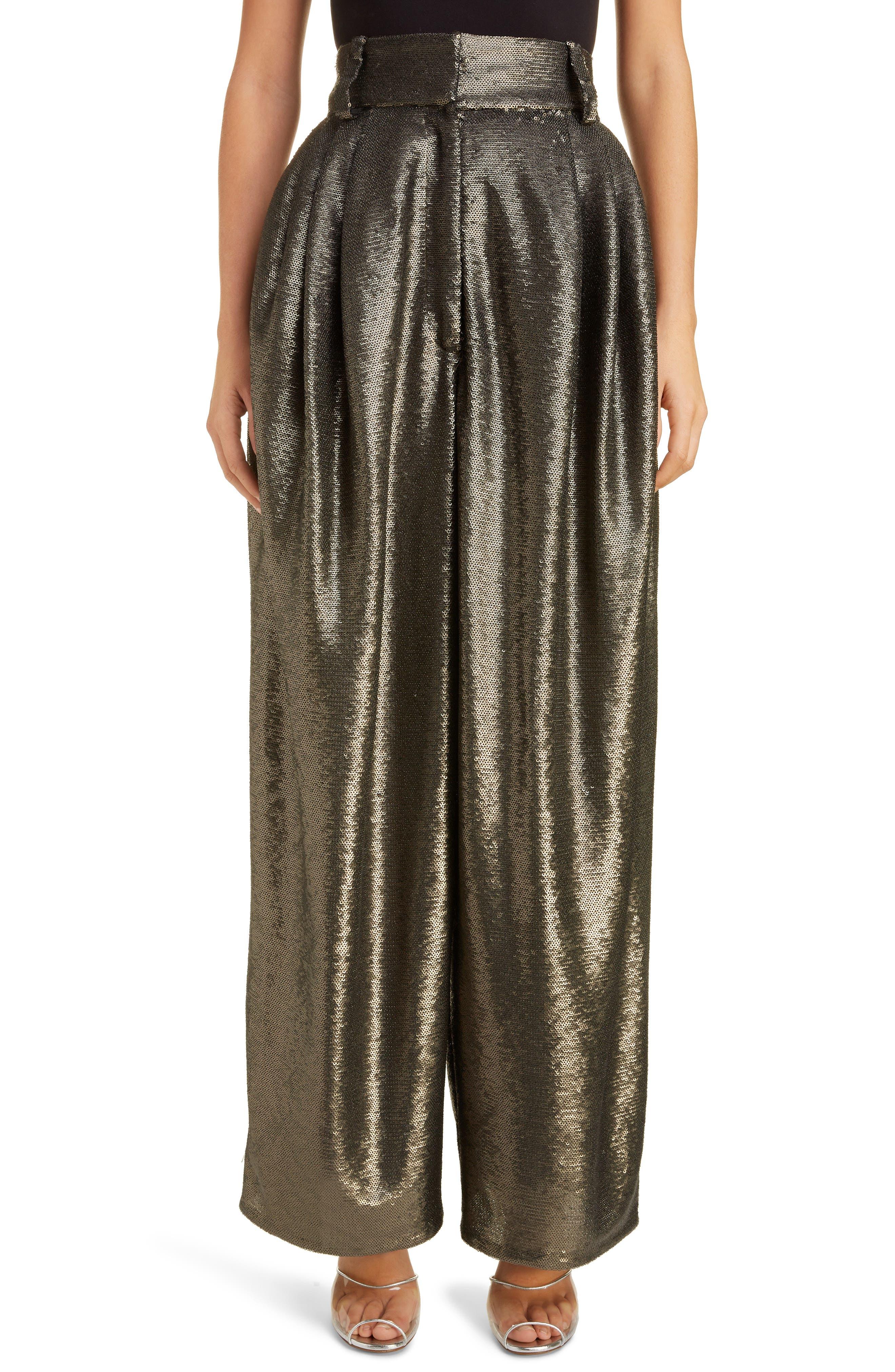 High Waist Wide Leg Sequin Pants, Main, color, GREY