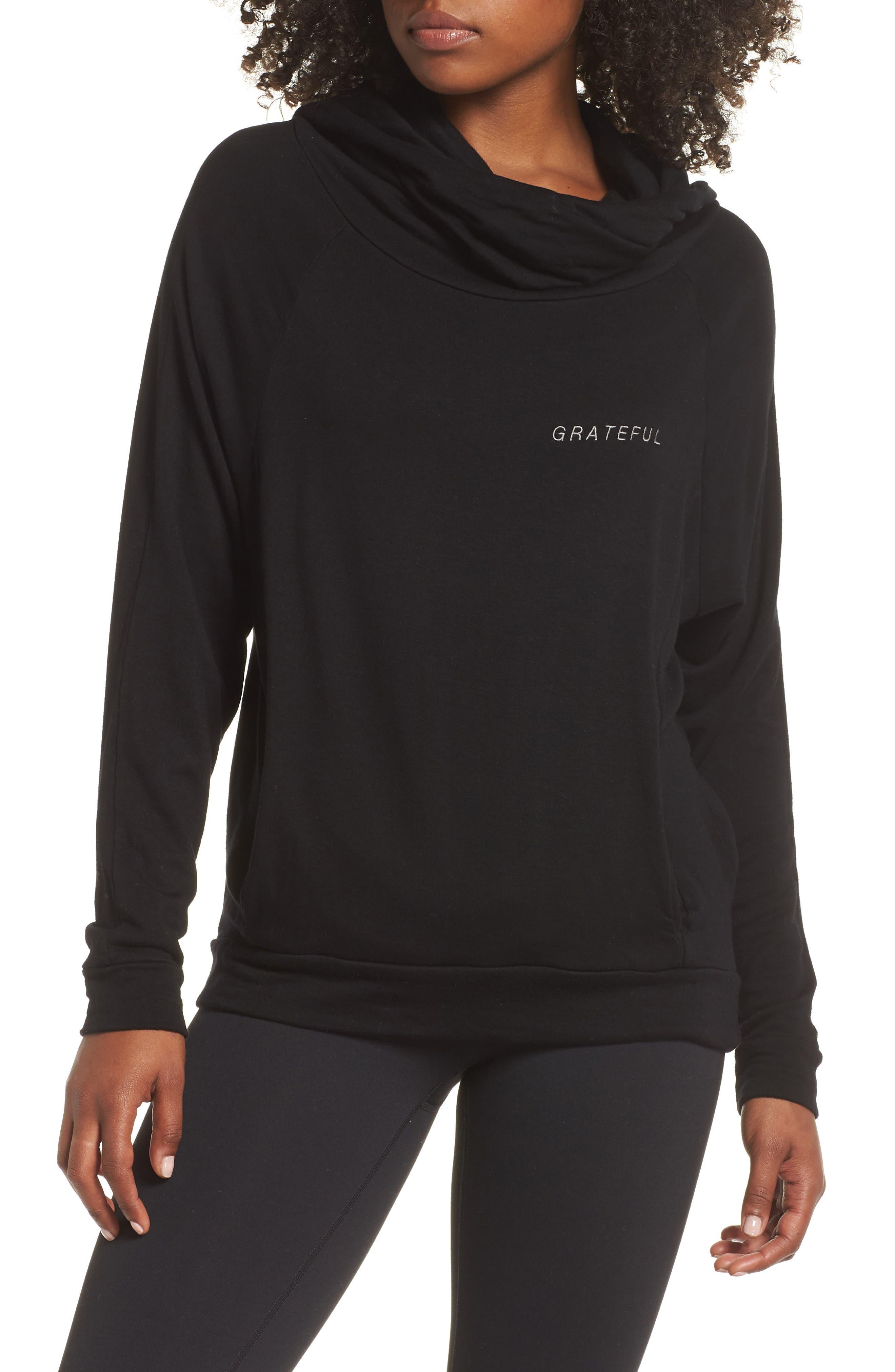 Grateful Cowl Neck Pullover,                         Main,                         color, BLACK SAND