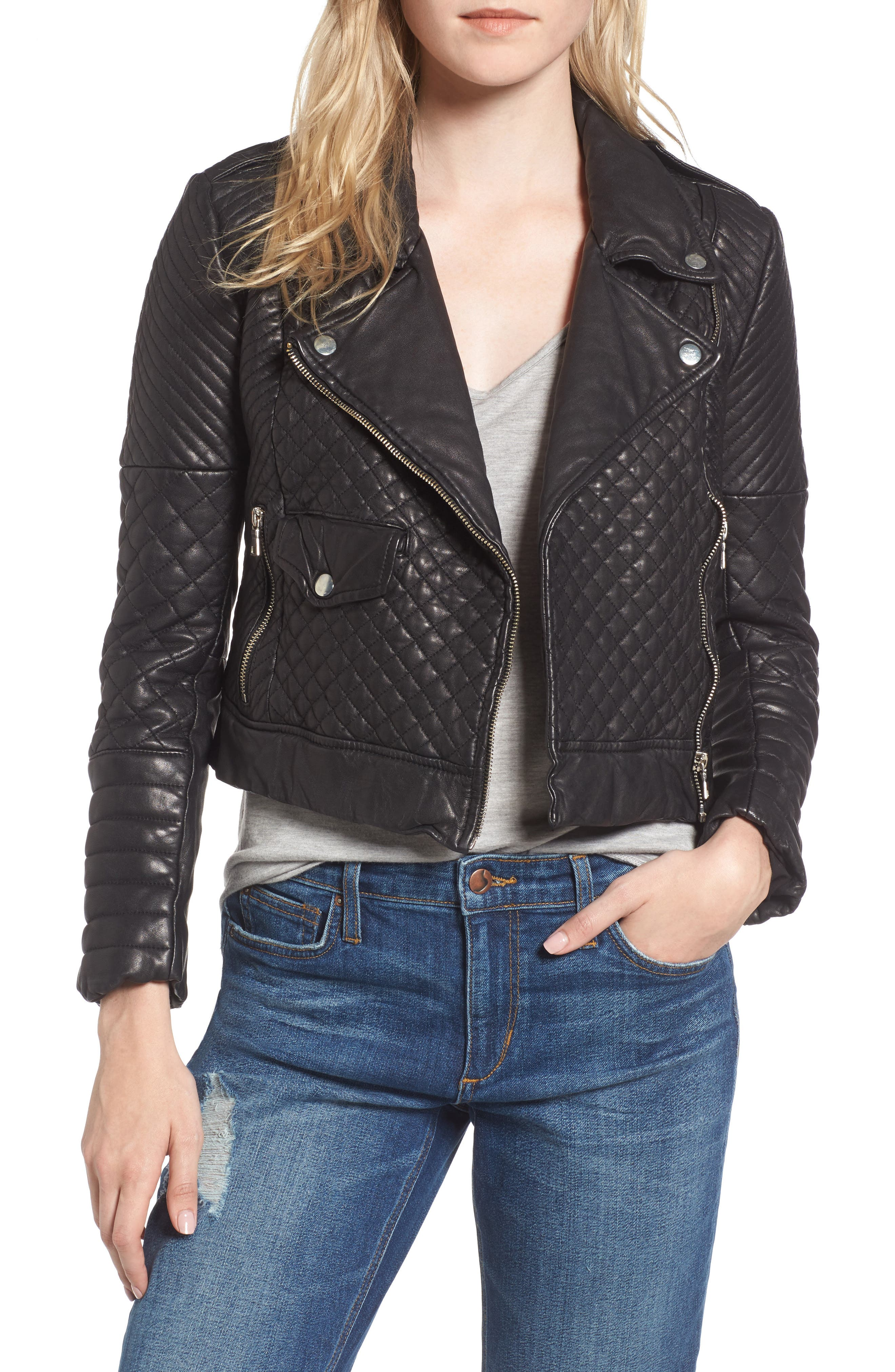 Quilted Leather Moto Jacket,                         Main,                         color, BLACK