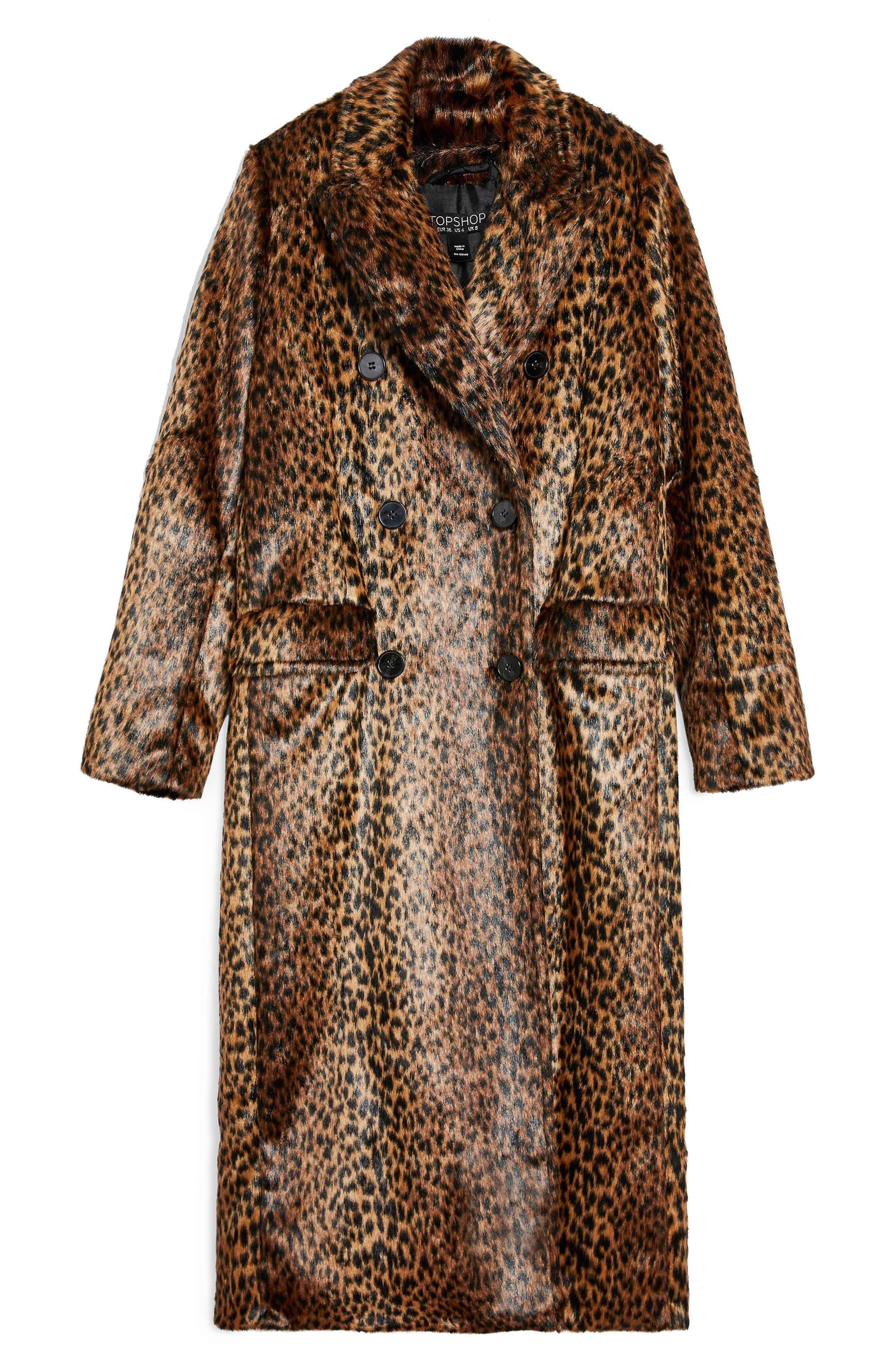 TOPSHOP,                             Toni Faux Fur Leopard Long Coat,                             Alternate thumbnail 6, color,                             200