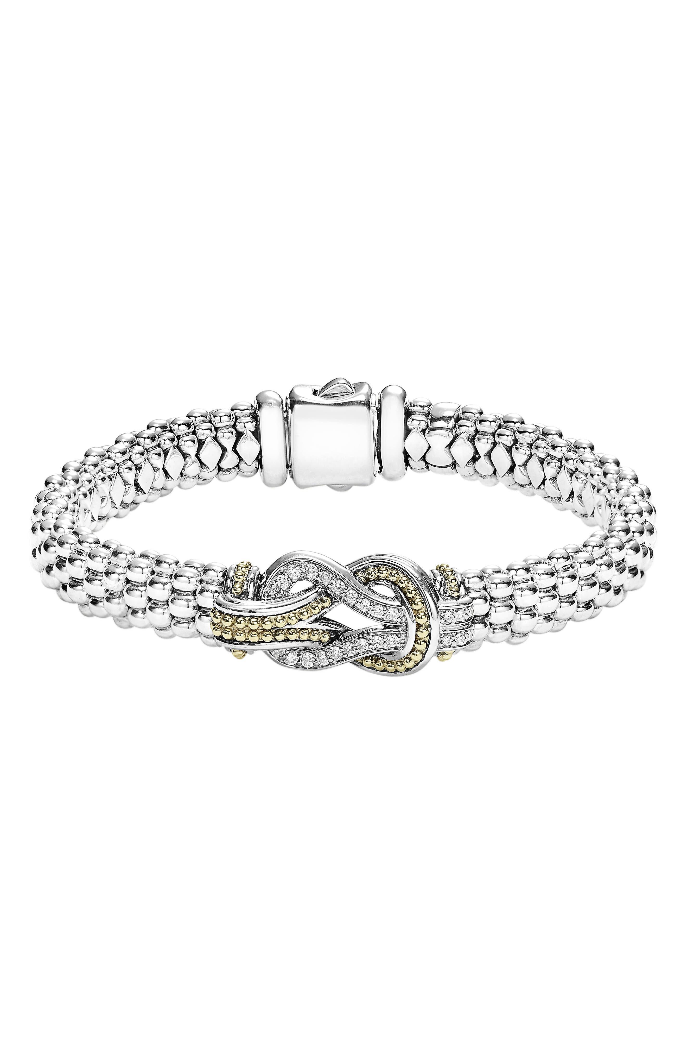 Caviar Newport Diamond Station Bracelet,                             Main thumbnail 1, color,                             SILVER/ GOLD