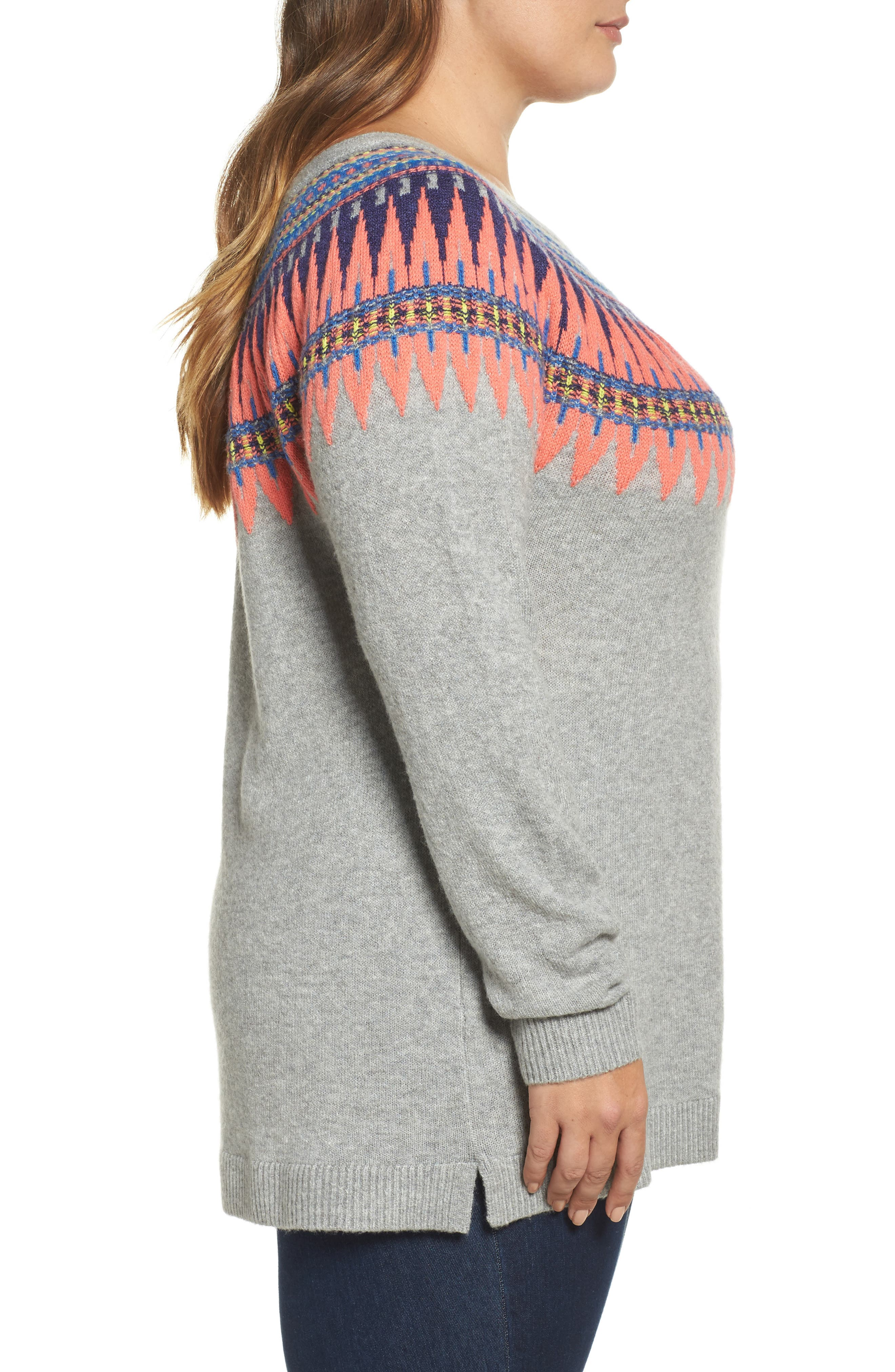Tie Back Patterned Sweater,                             Alternate thumbnail 3, color,                             030
