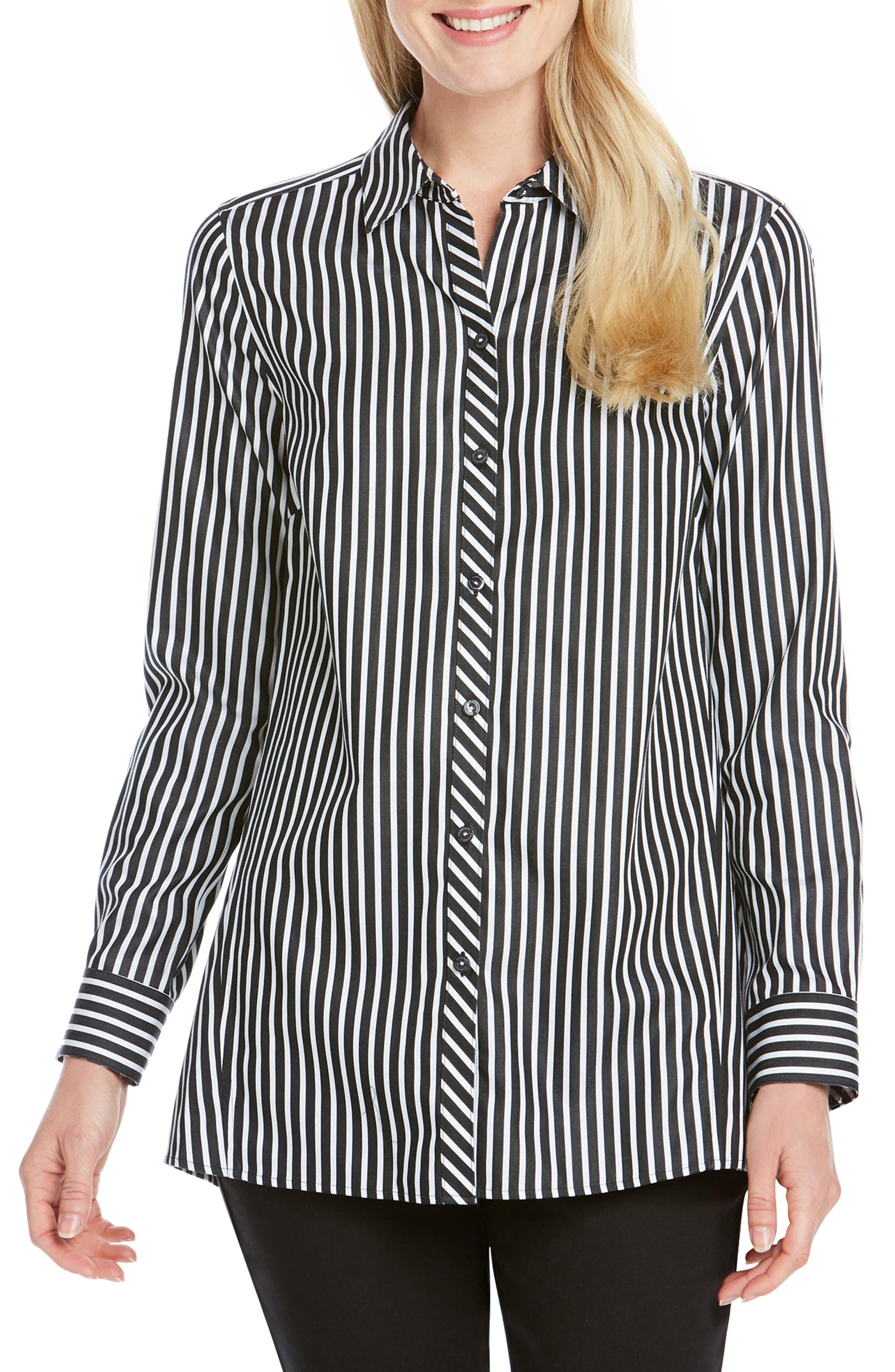 FOXCROFT Emilia Striped Cotton Tunic Shirt in Black/ White