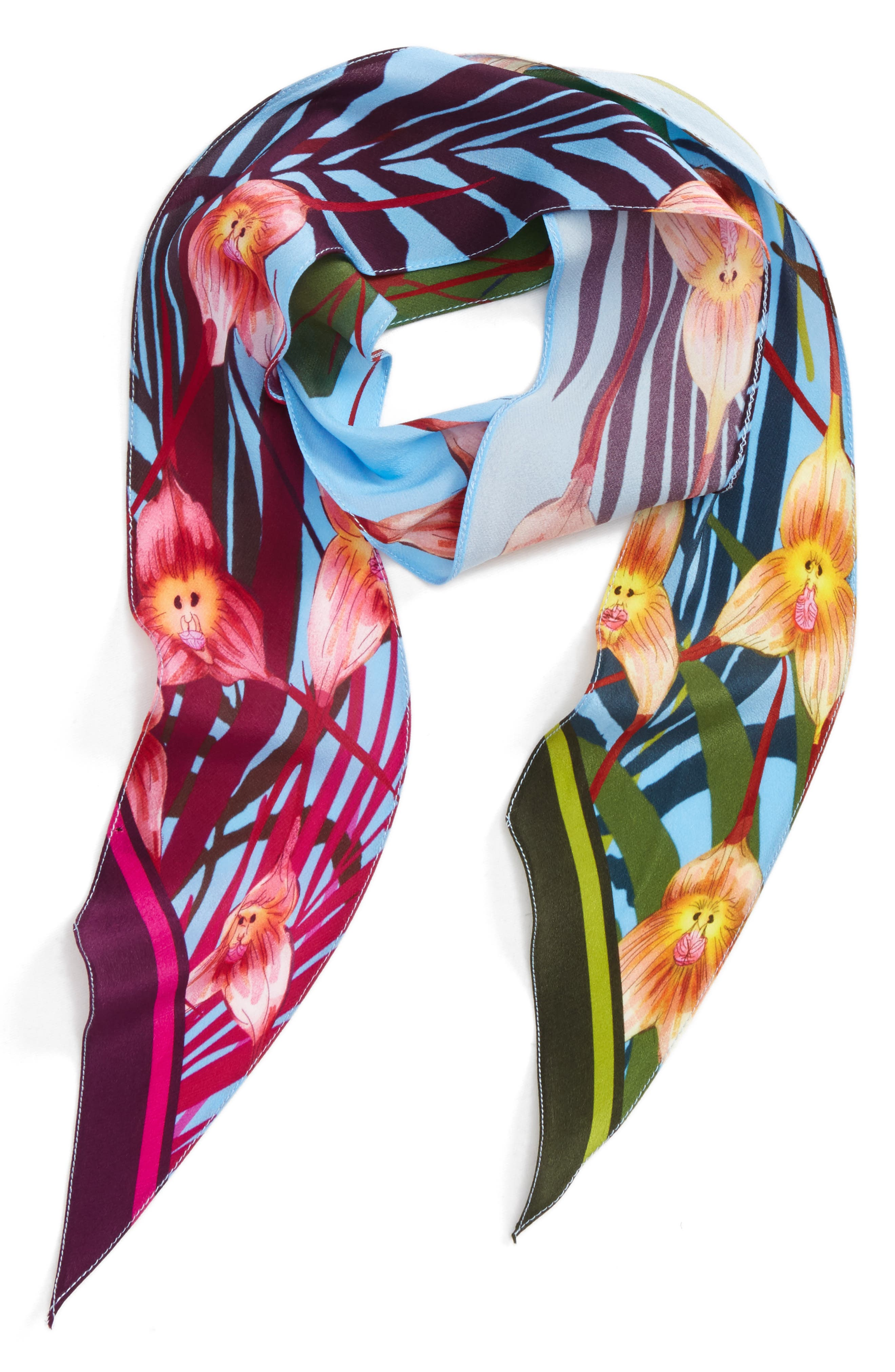 Monkey Orchid Skinny Silk Scarf,                         Main,                         color, 400