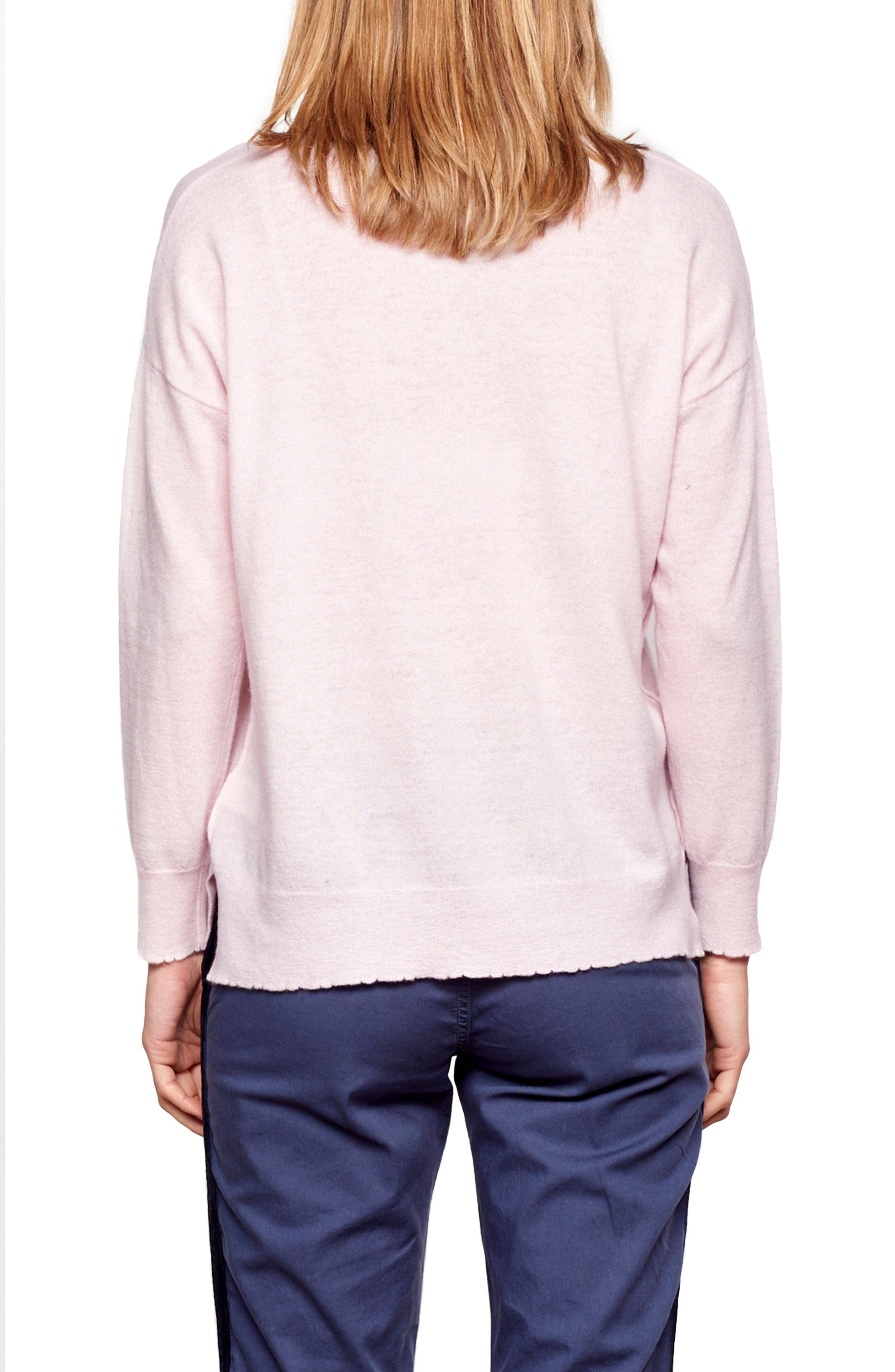 Crewneck Wool & Cashmere Sweater,                             Alternate thumbnail 2, color,                             PETAL