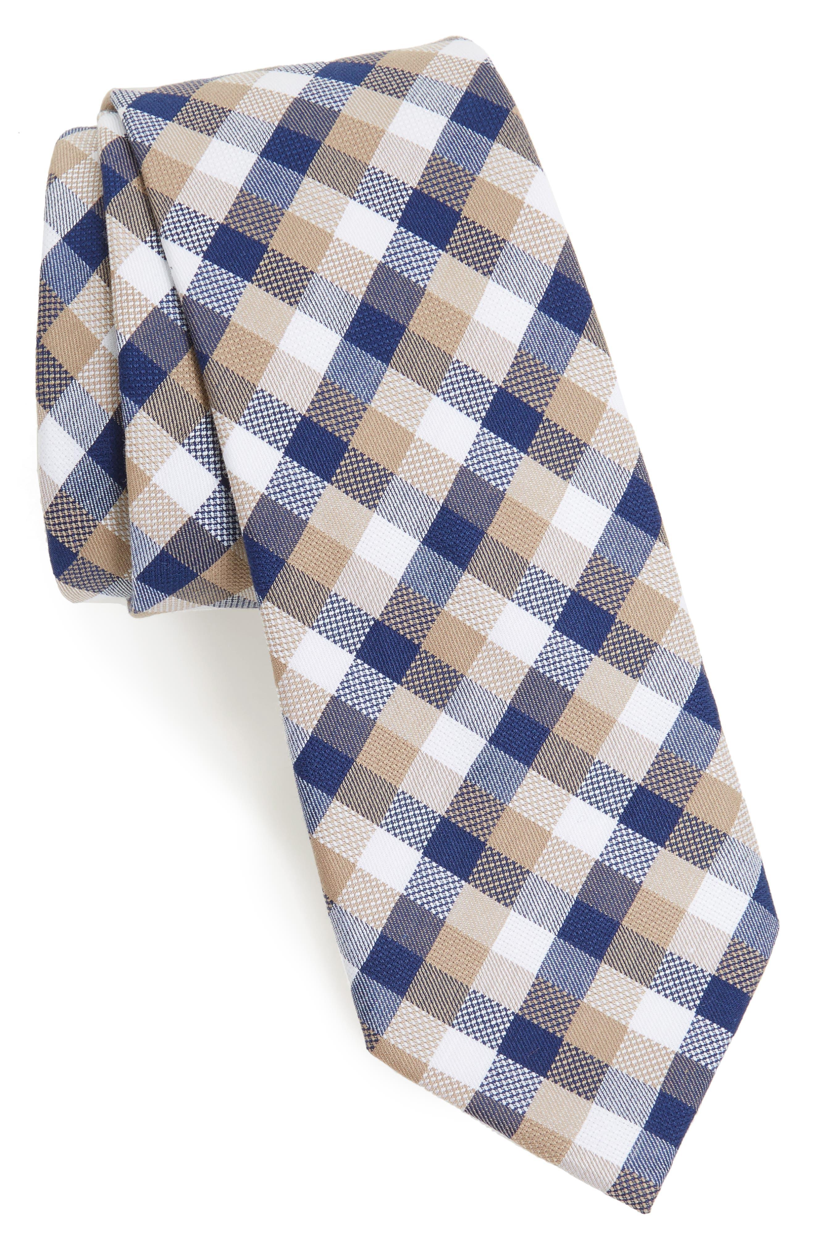 Scott Check Cotton Skinny Tie,                         Main,                         color,