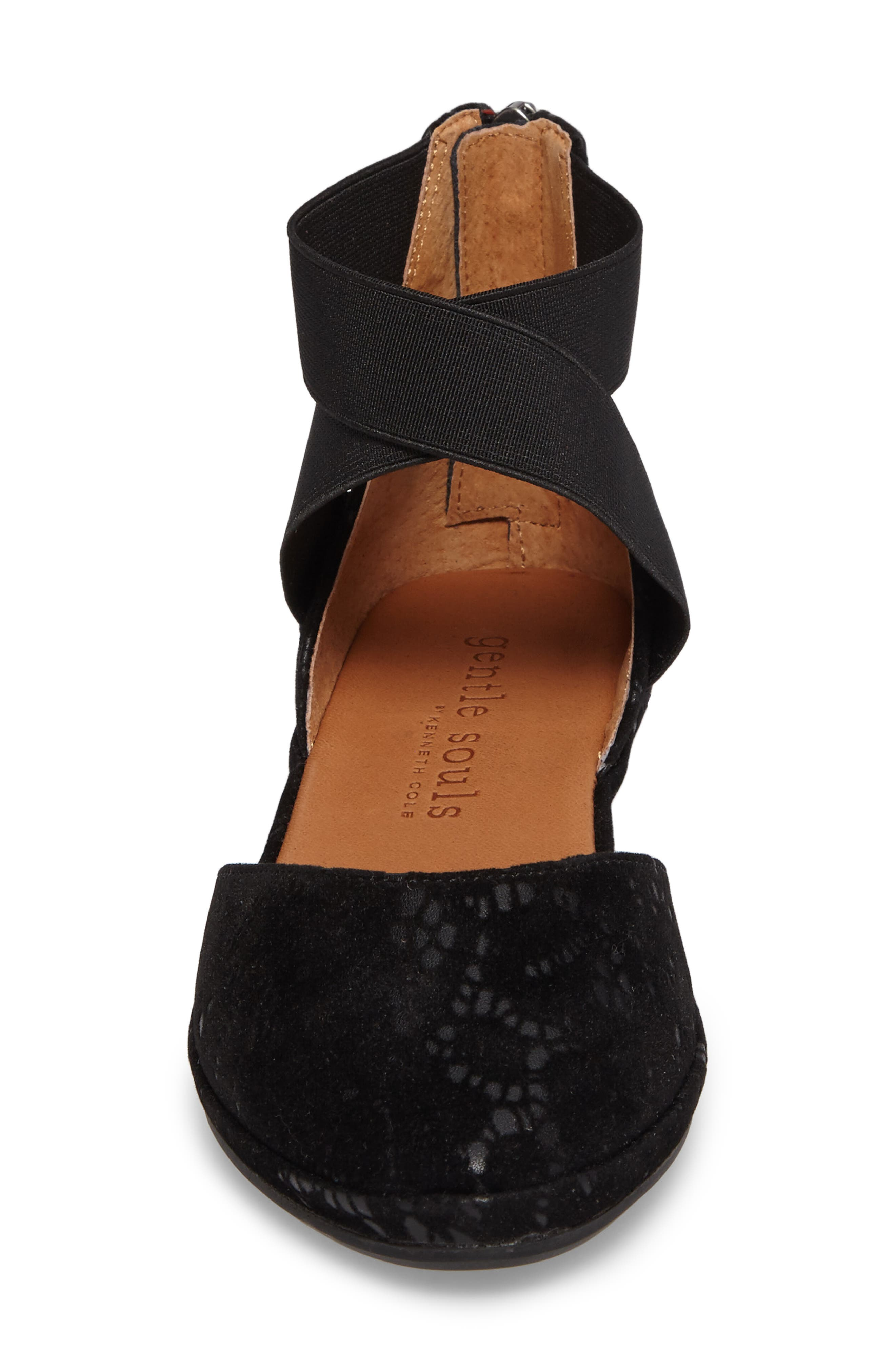 by Kenneth Cole Noa Cross Strap Wedge,                             Alternate thumbnail 4, color,                             BLACK TEXTURED LEATHER