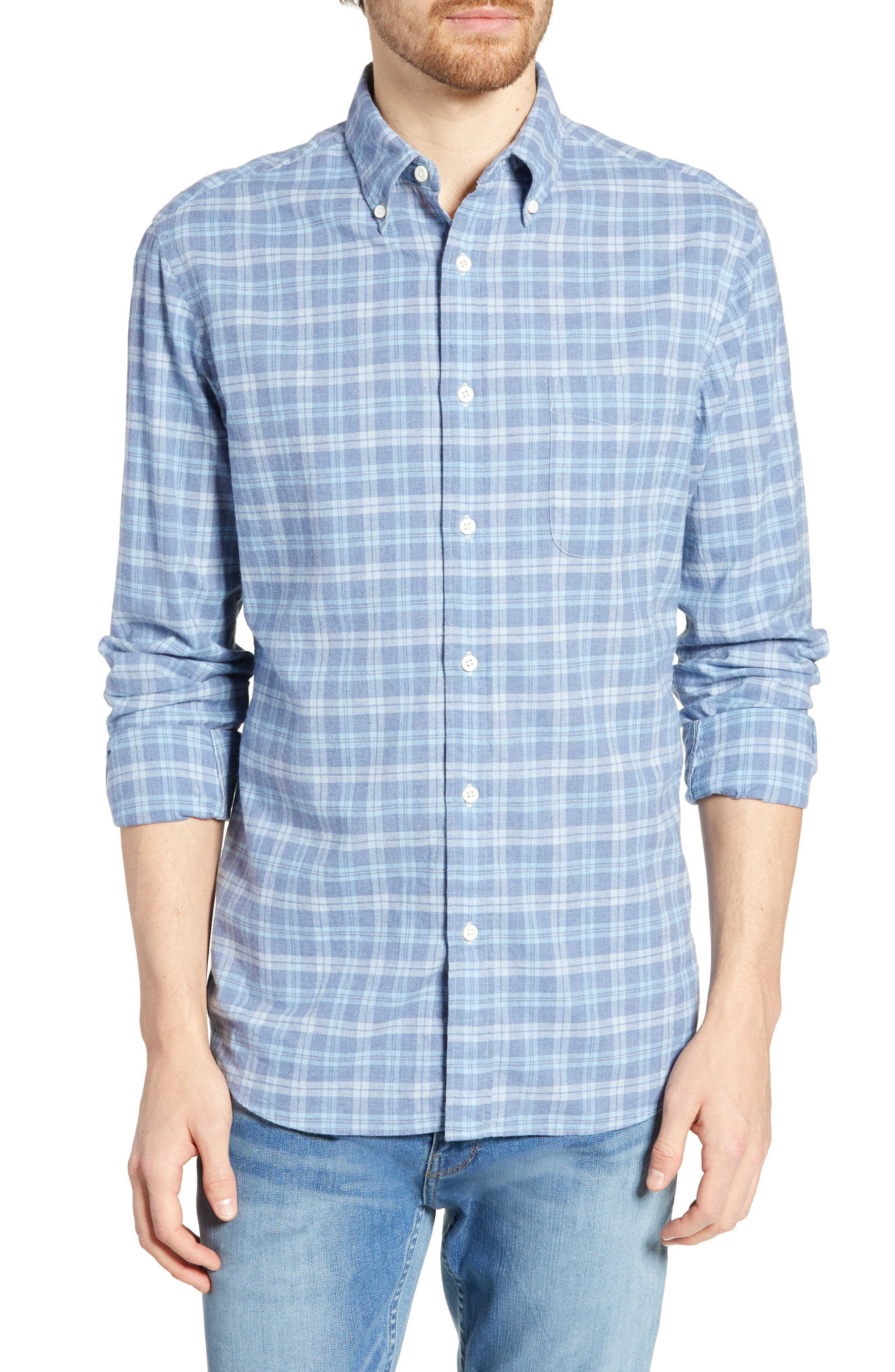 Faherty Pacific Regular Fit Check Sport Shirt, Blue