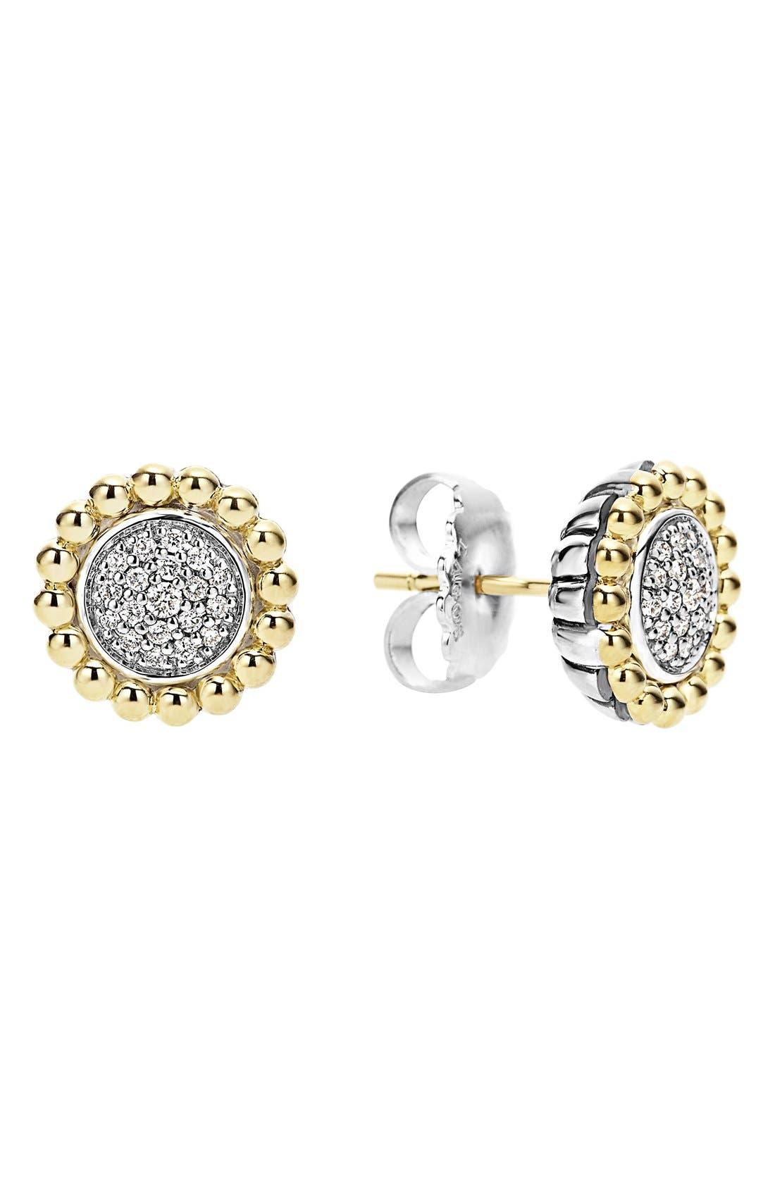 Diamond Caviar Stud Earrings,                             Main thumbnail 1, color,                             SILVER/ GOLD