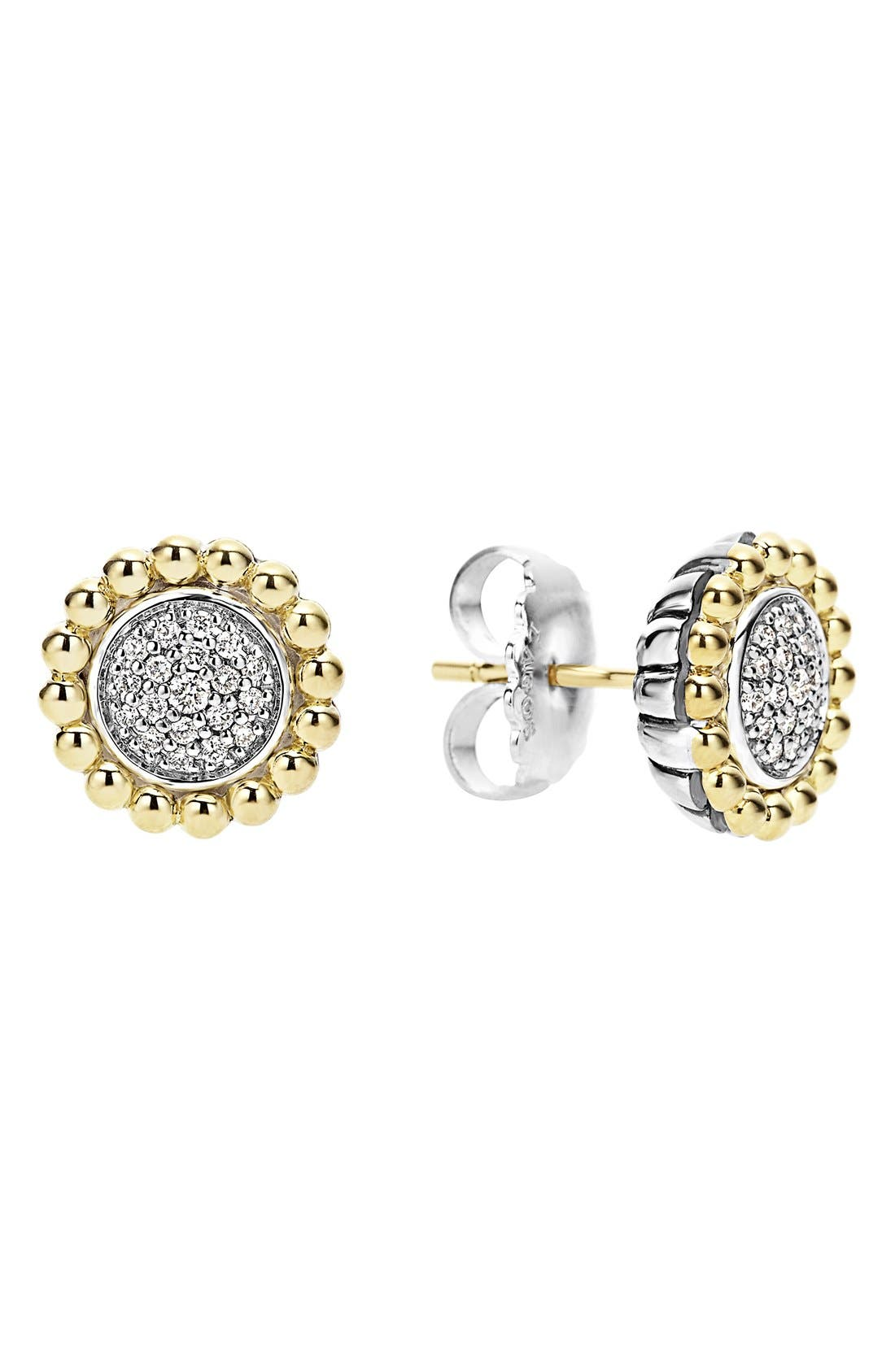 Diamond Caviar Stud Earrings,                         Main,                         color, SILVER/ GOLD