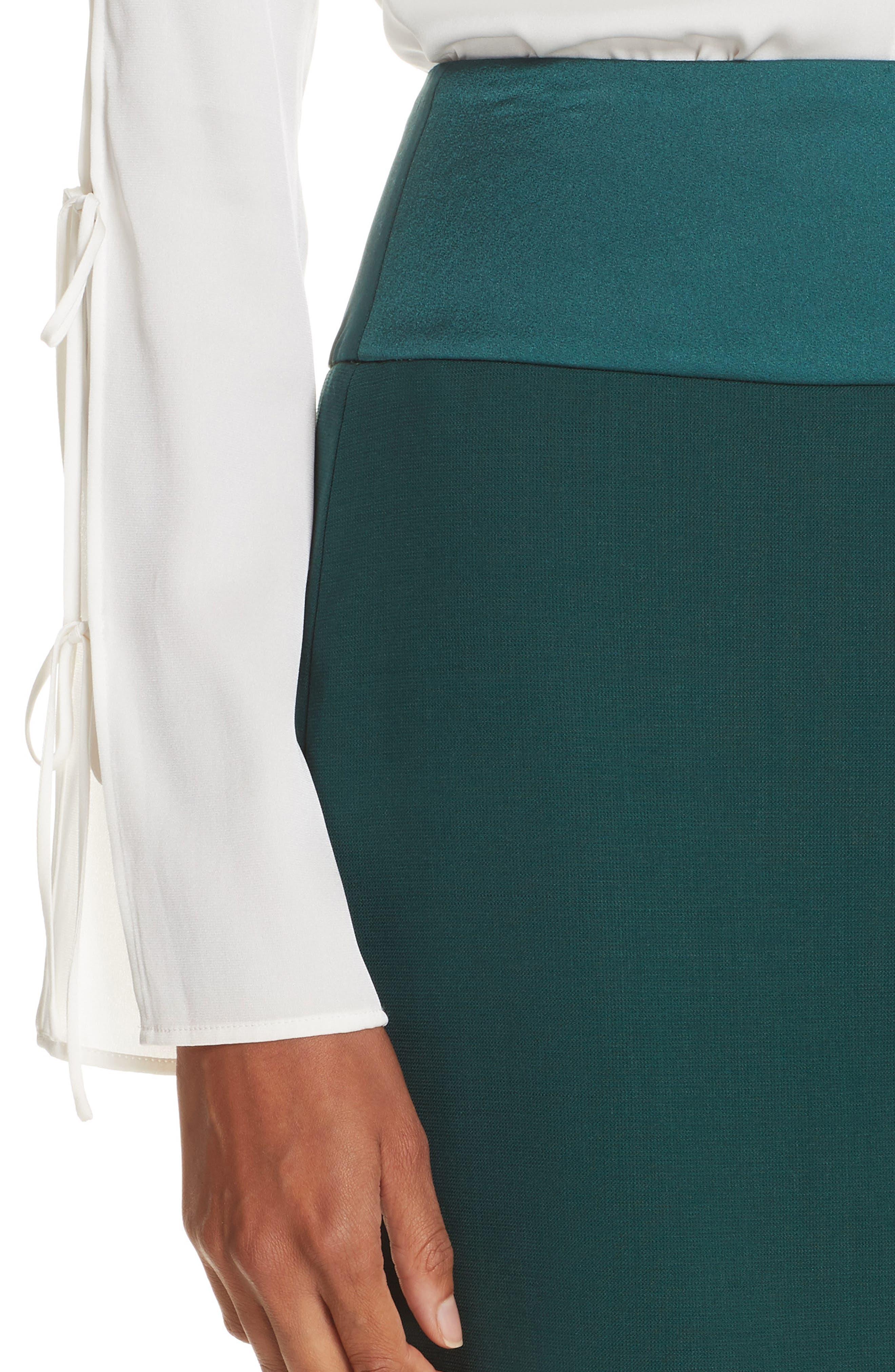Vanufa Stretch Wool Suit Skirt,                             Alternate thumbnail 4, color,                             PINE GREEN