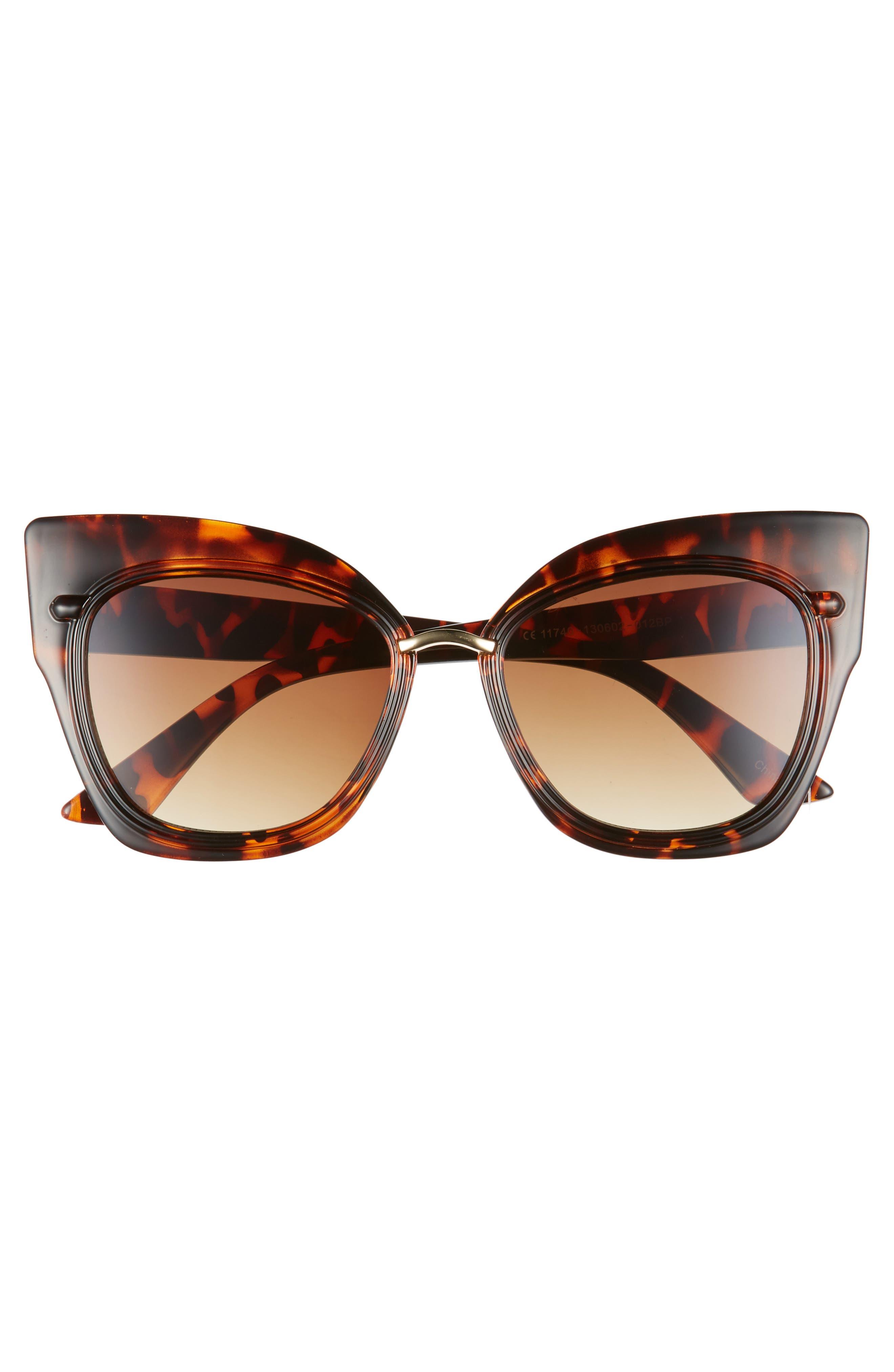 55mm Dual Oversized Cat Eye Sunglasses,                             Alternate thumbnail 3, color,                             200