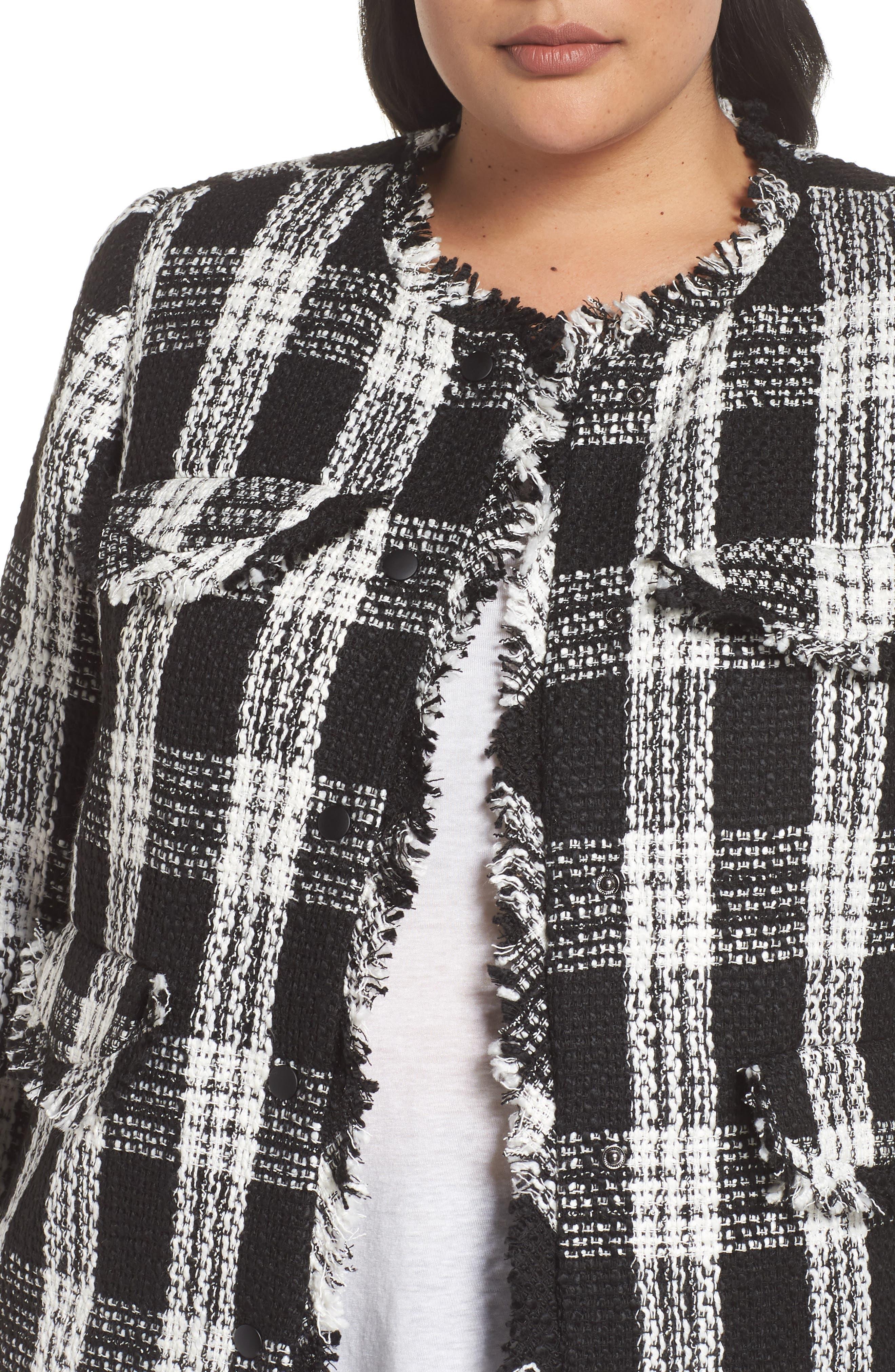 Raw Edge Plaid Tweed Jacket,                             Alternate thumbnail 4, color,                             001