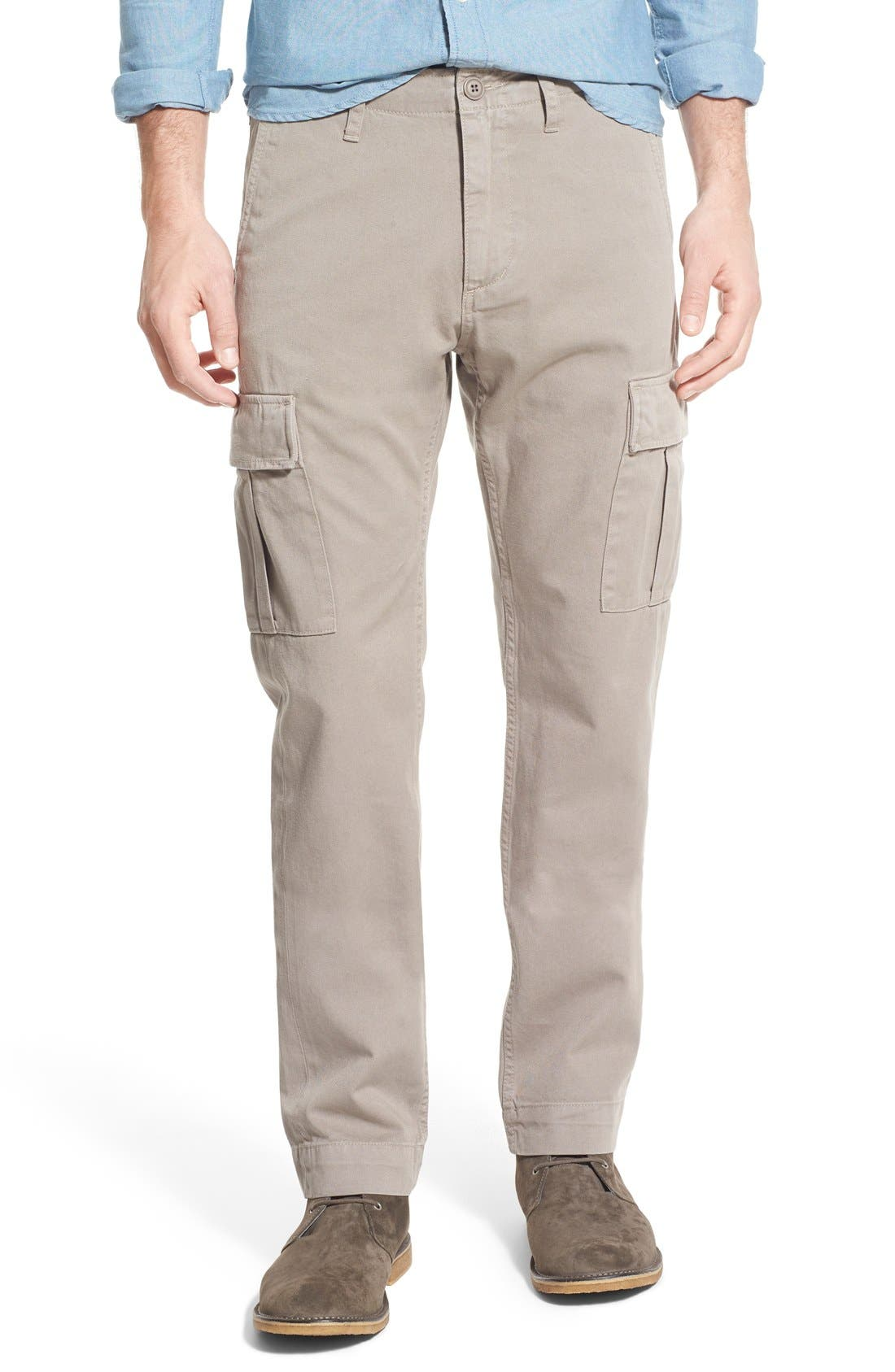 Slim Fit Selvedge Twill Cargo Pants, Main, color, 086