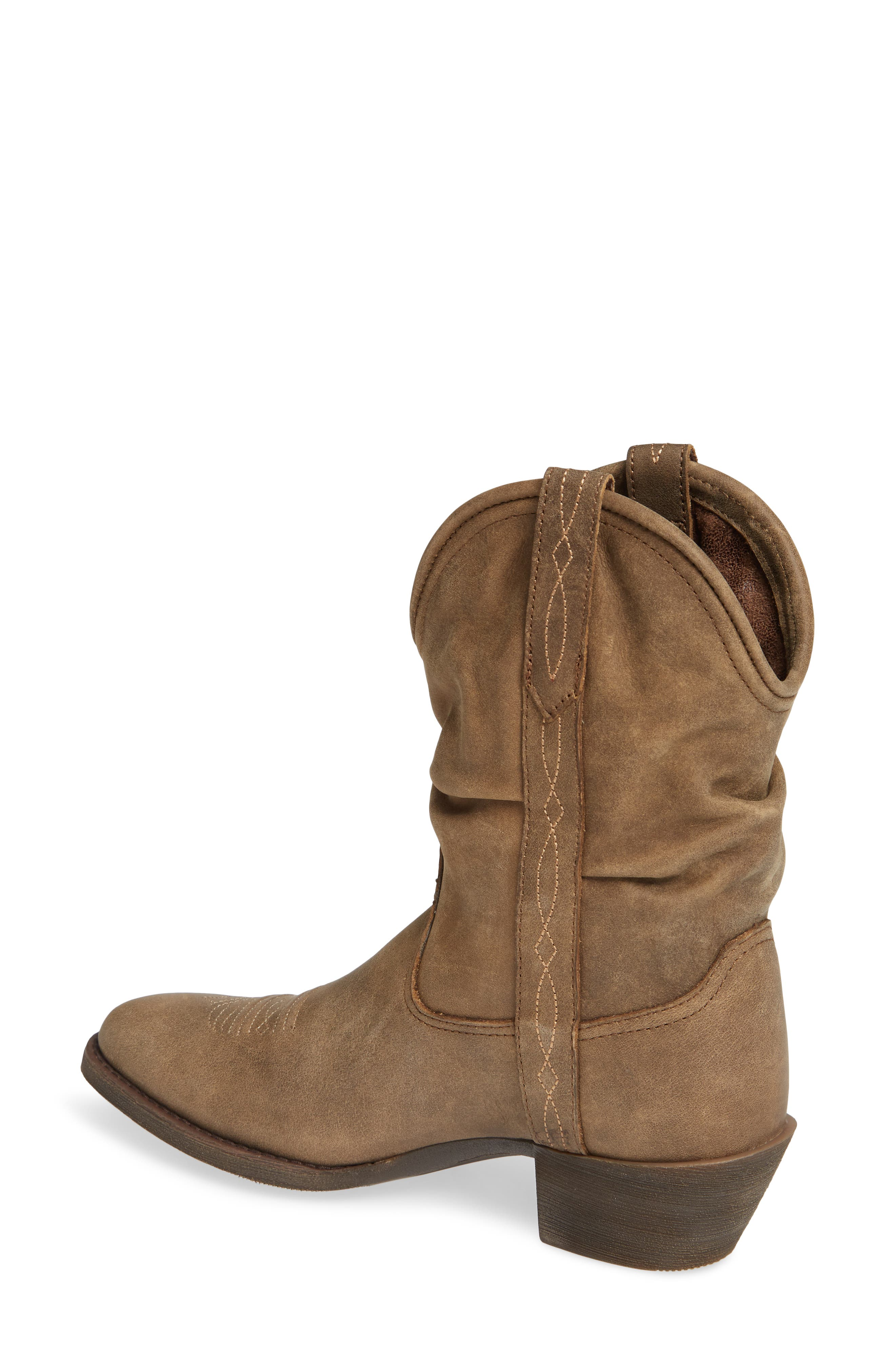 Reina Slouchy Western Boot,                             Alternate thumbnail 2, color,                             BROWN BOMBER LEATHER